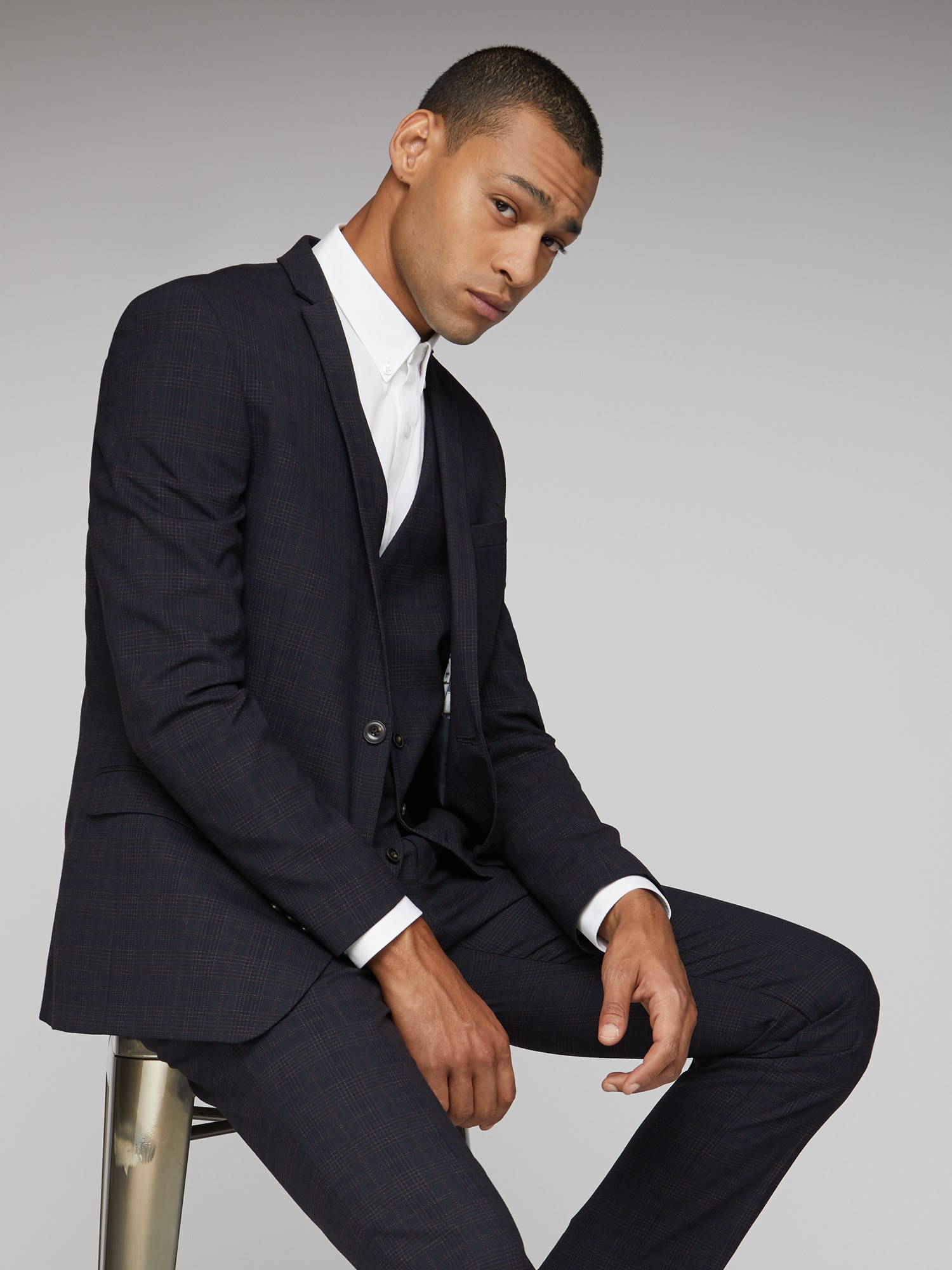 Midnight Rust Texture Check Slim Fit Suit Trouser