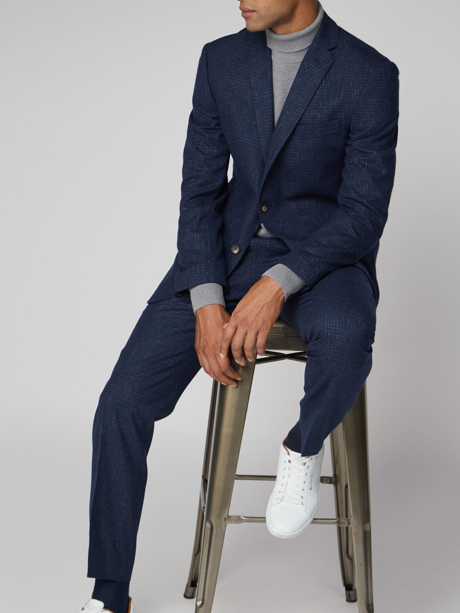 Mid Blue Broken Structure Tailored Fit Suit
