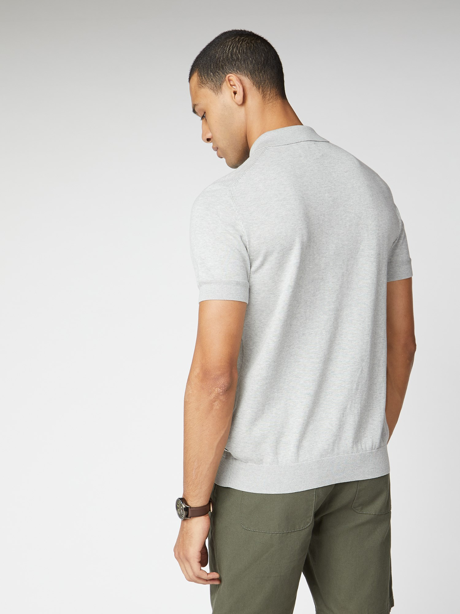 Signature Grey Knitted Cotton Short Sleeve Polo