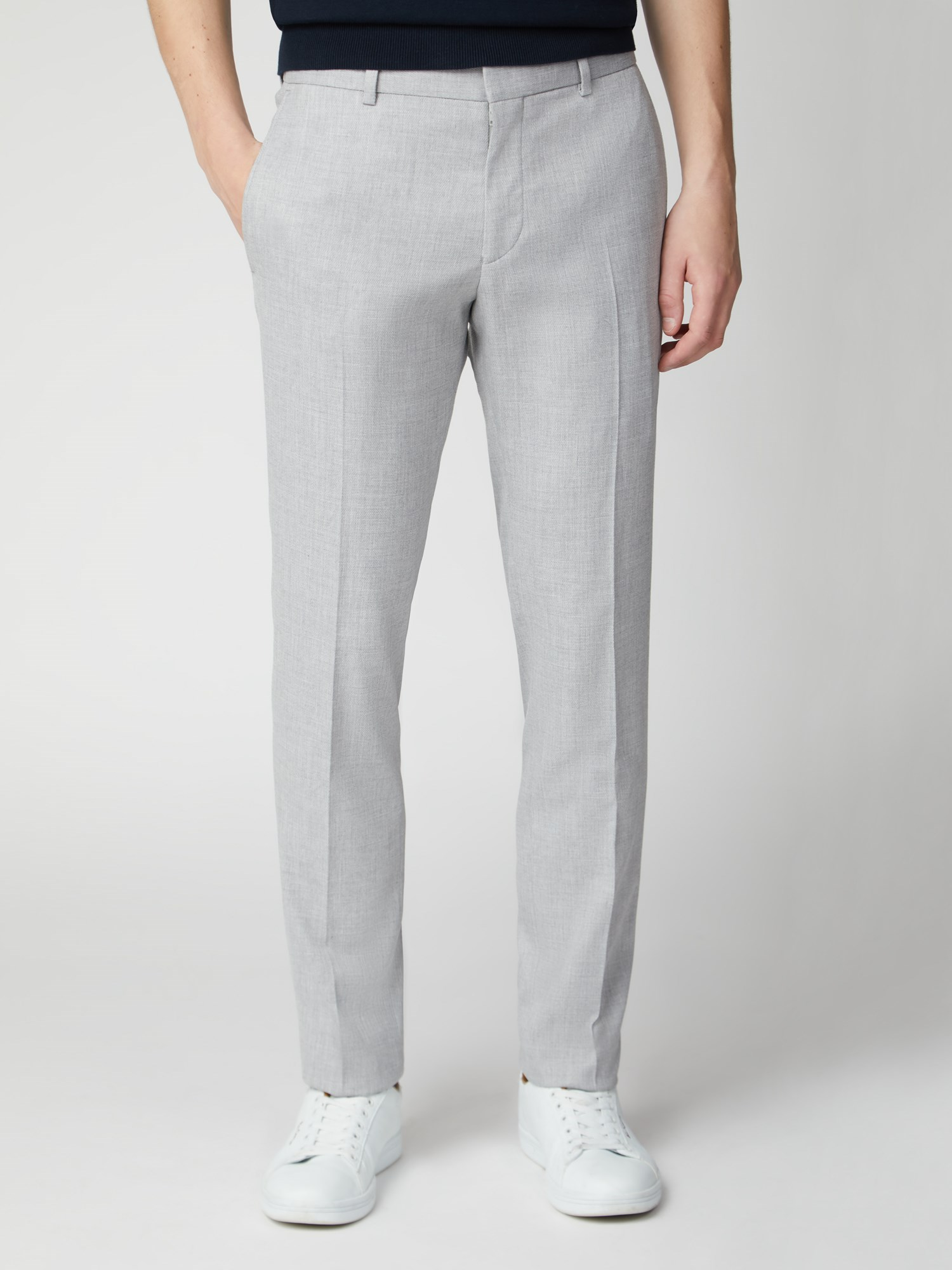 Cool Grey Structure Skinny Fit Suit Trouser