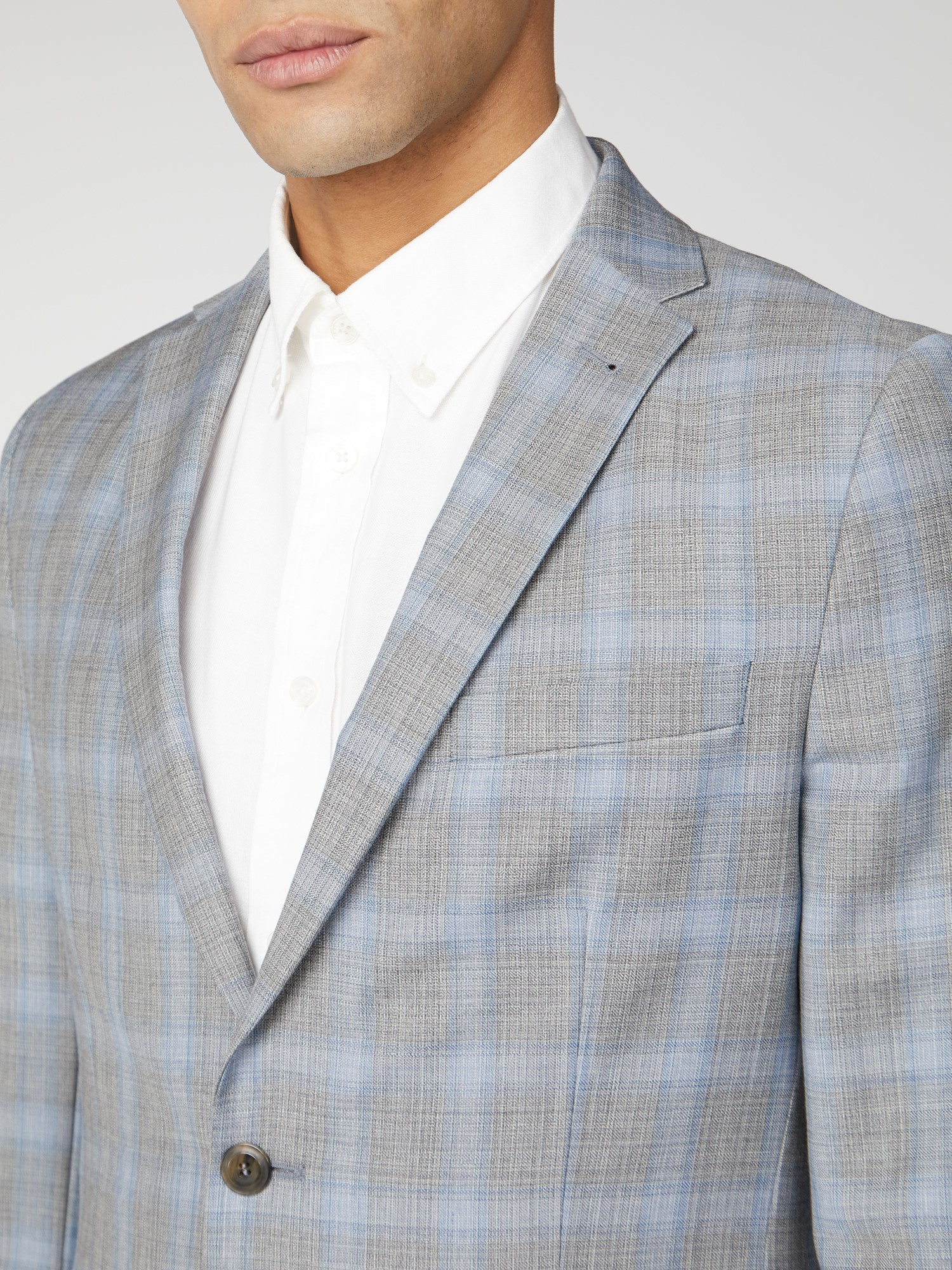 Ice Grey Blue Check Camden Fit Suit