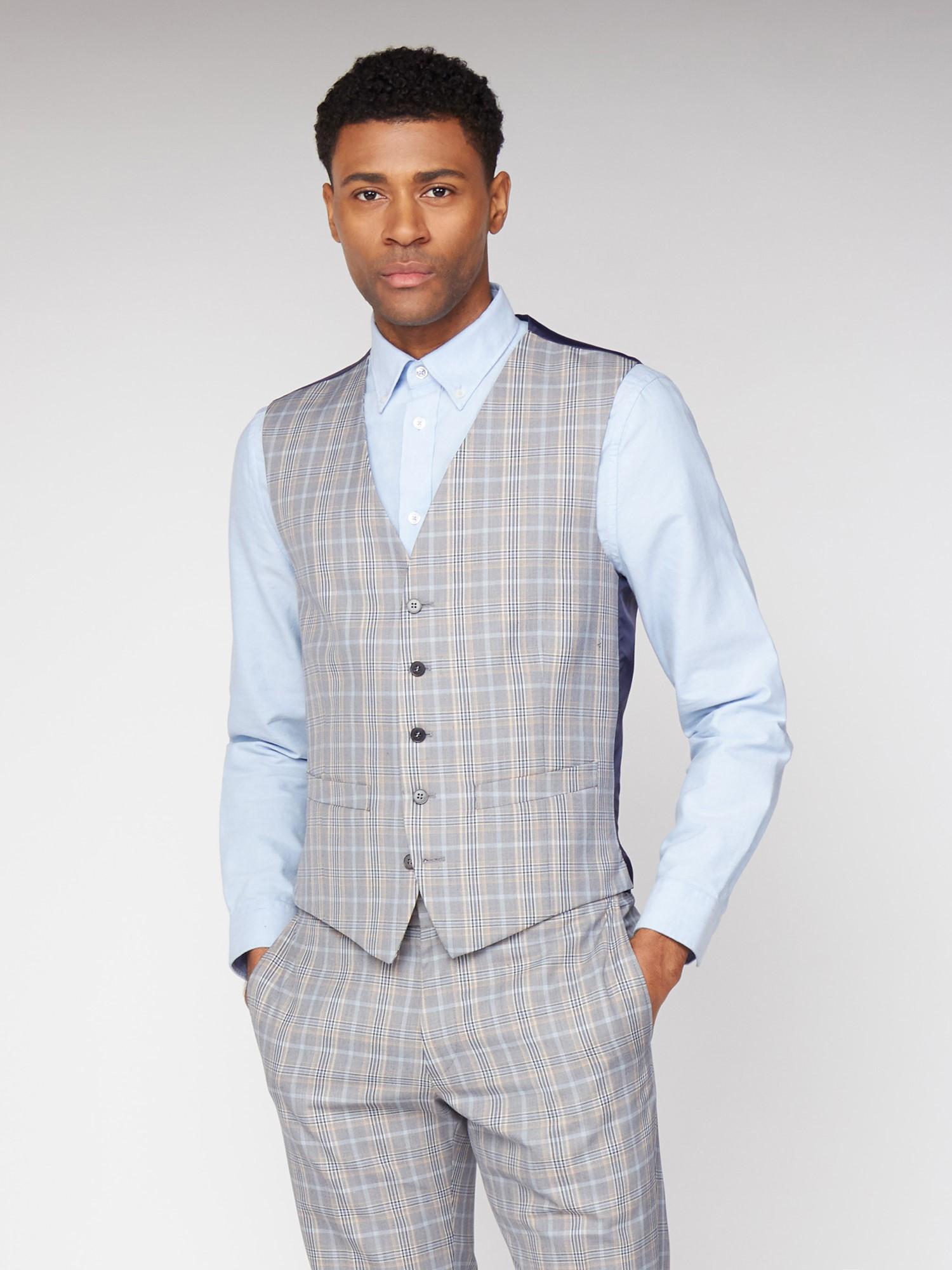 Grey Orange Bold Check Skinny Fit Suit