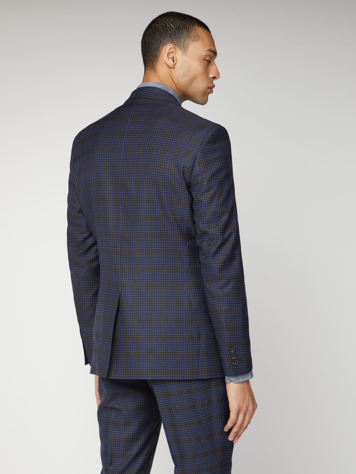 Blue Mustard Shadow Check Tailored Fit Suit Trouser
