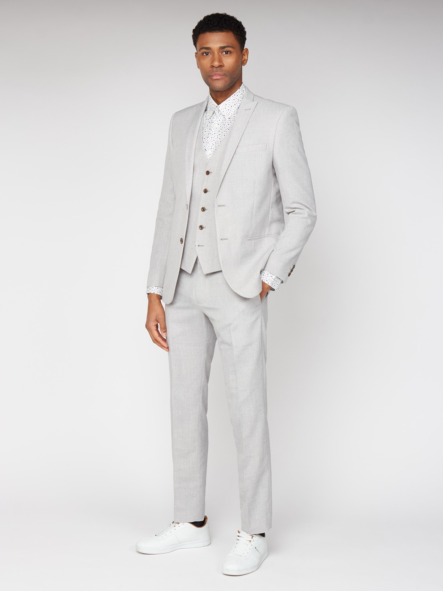 Cool Grey Texture Slim Fit Trousers