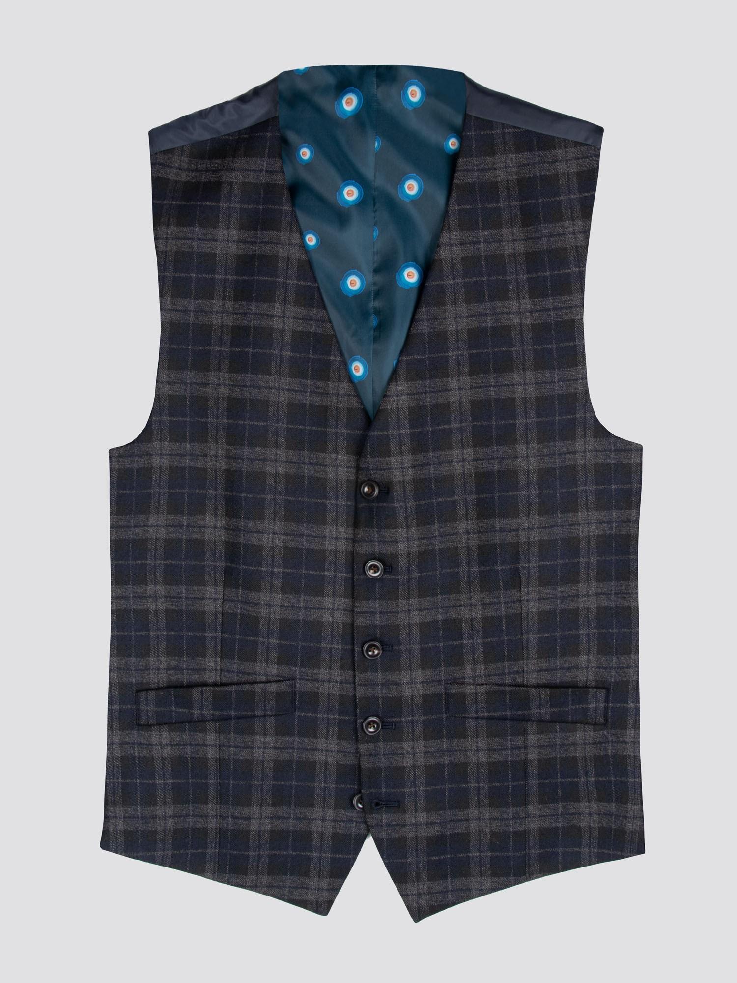 Blue Black Brushed Check Waistcoat