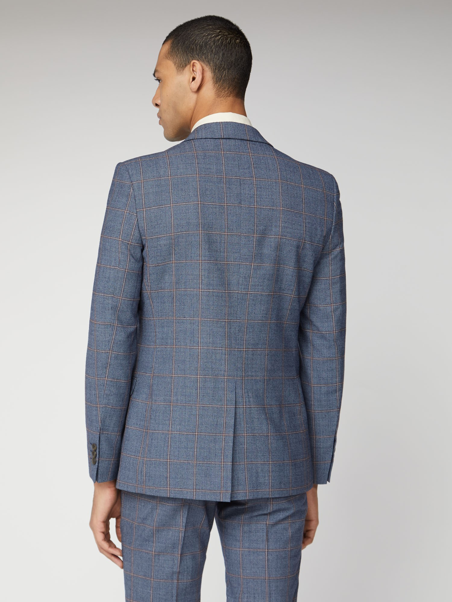 Blue Rust Windowpane Check Tailored Fit Suit Jacket
