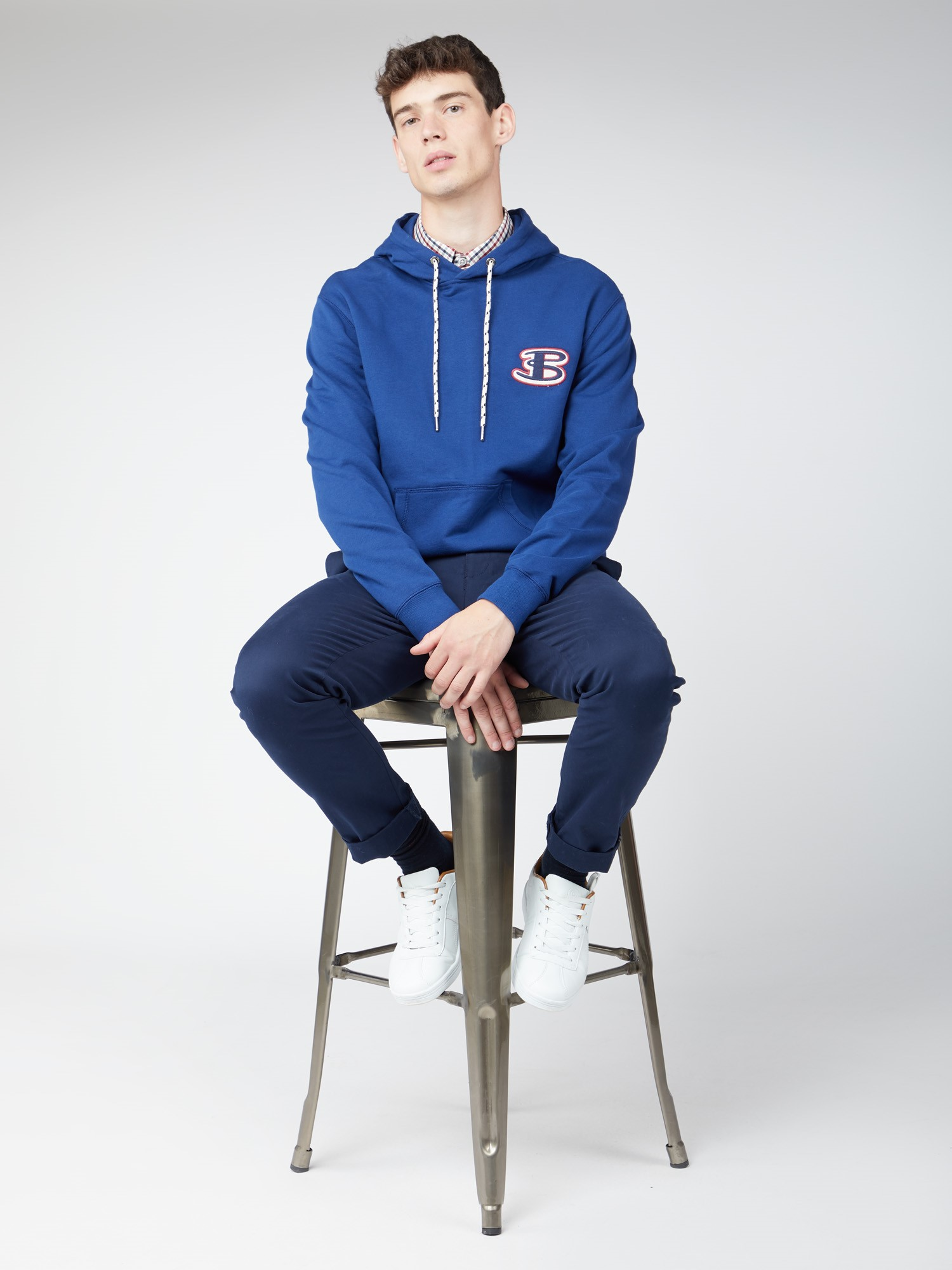 Casual Blue Logo Graphic Hoodie