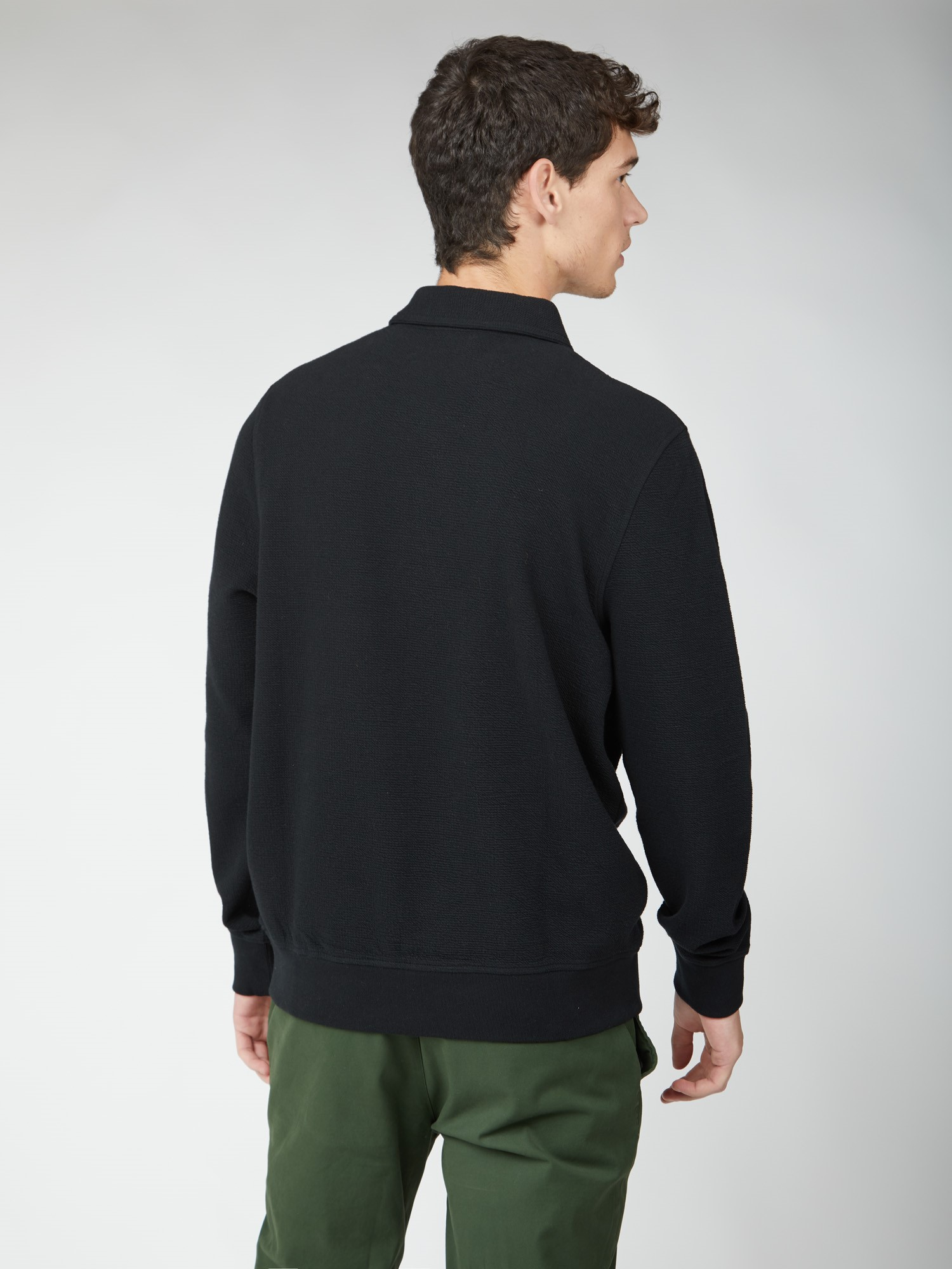 Fabric Interest Zip Neck