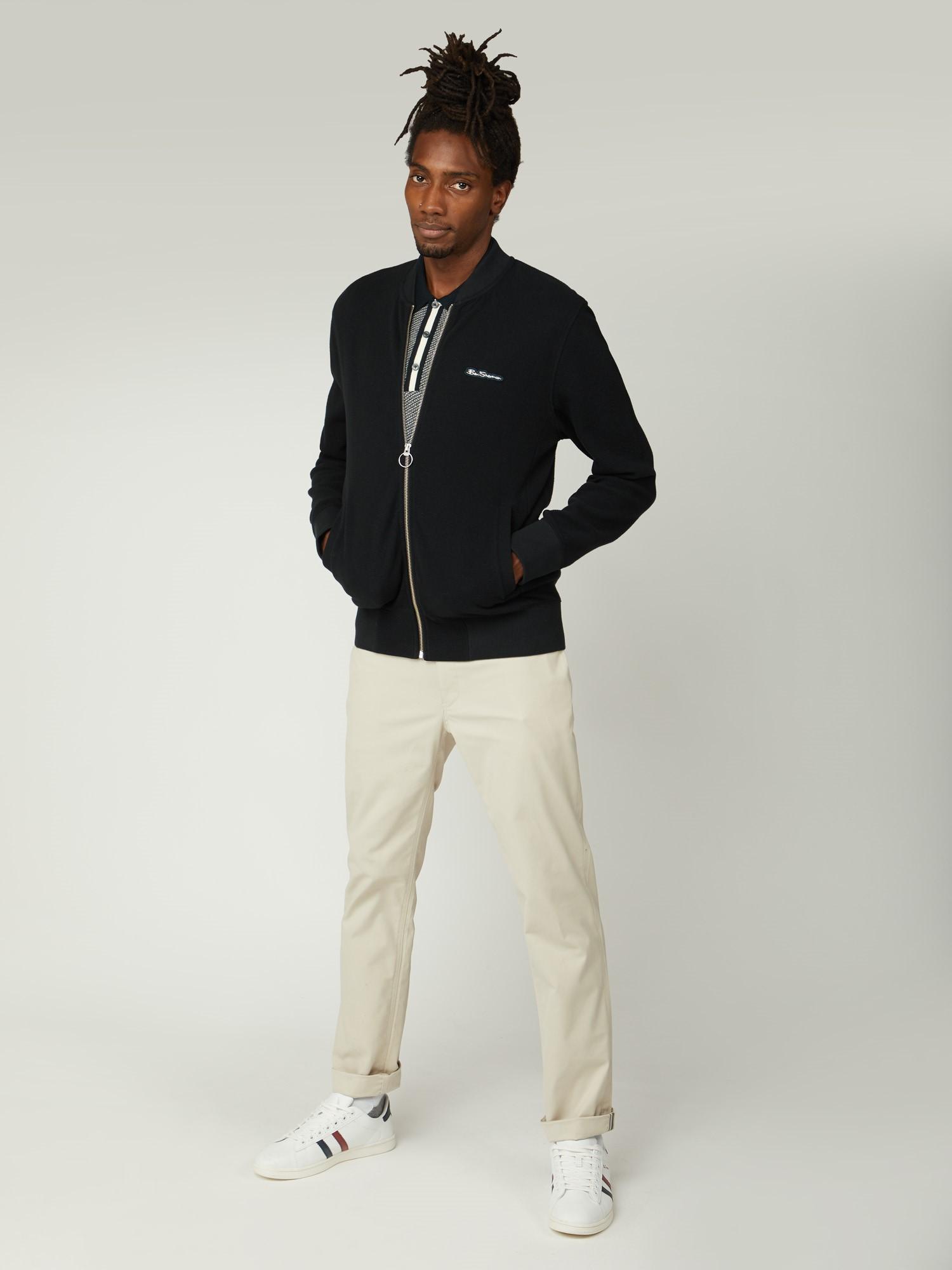 Texture Fabric Jersey Zip Bomber Jacket