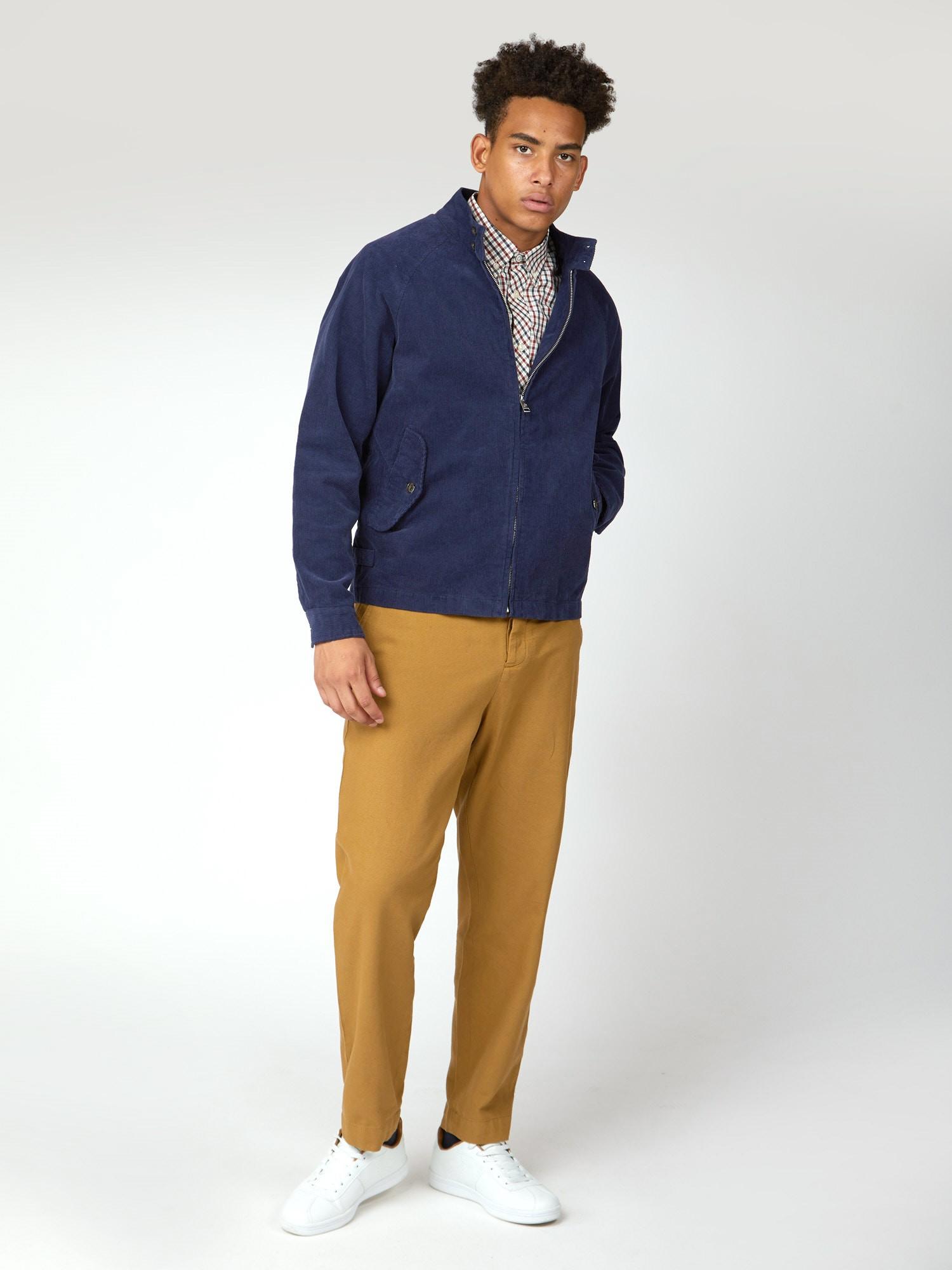 Ben Sherman Navy Blue Cord Harrington Jacket