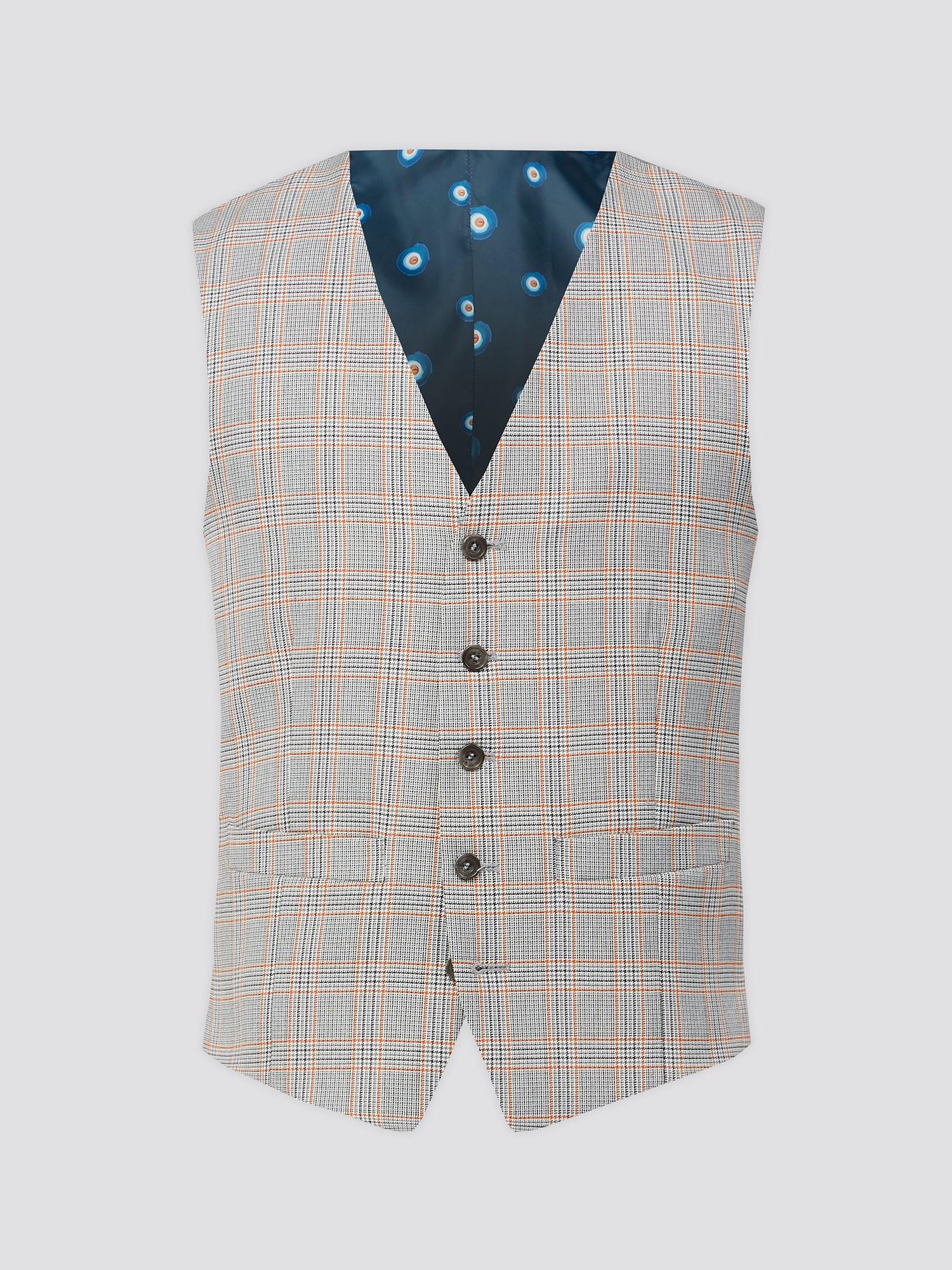 Grey Orange Prince of Wales Check Waistcoat