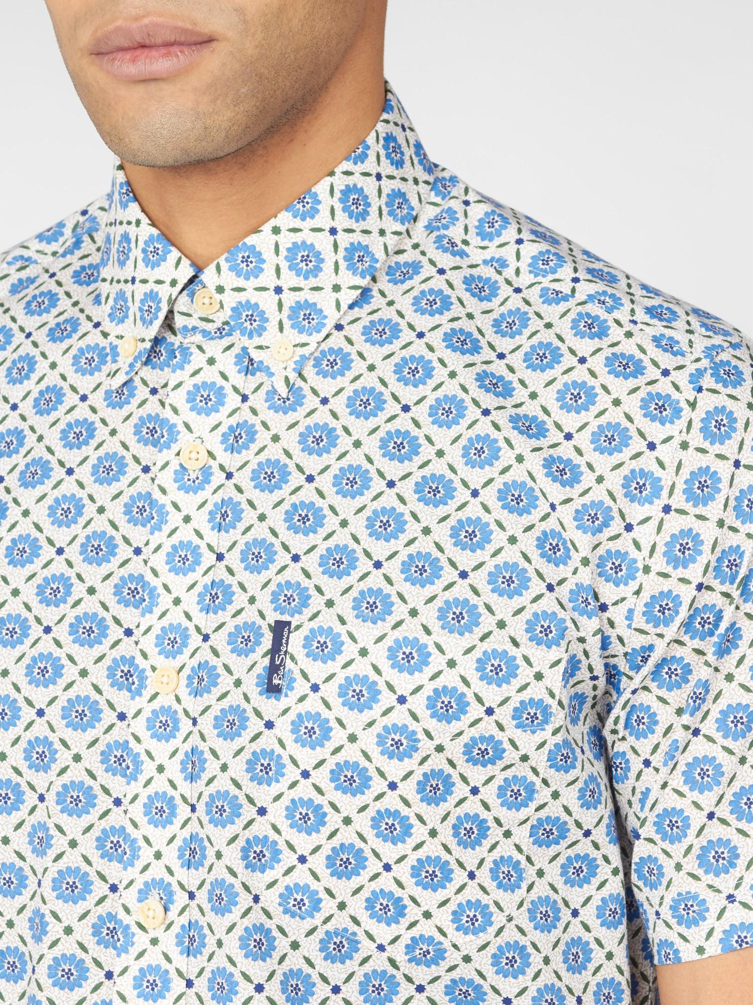Block Floral Short Sleeve Shirt