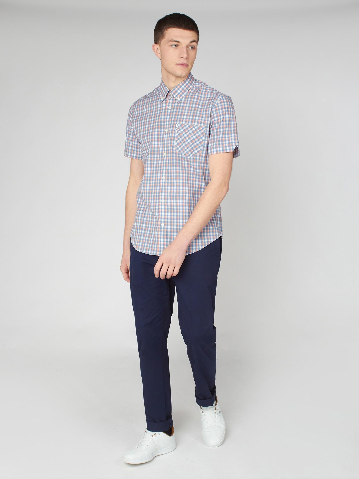 Mini Gradient Blue & Red Check Shirt