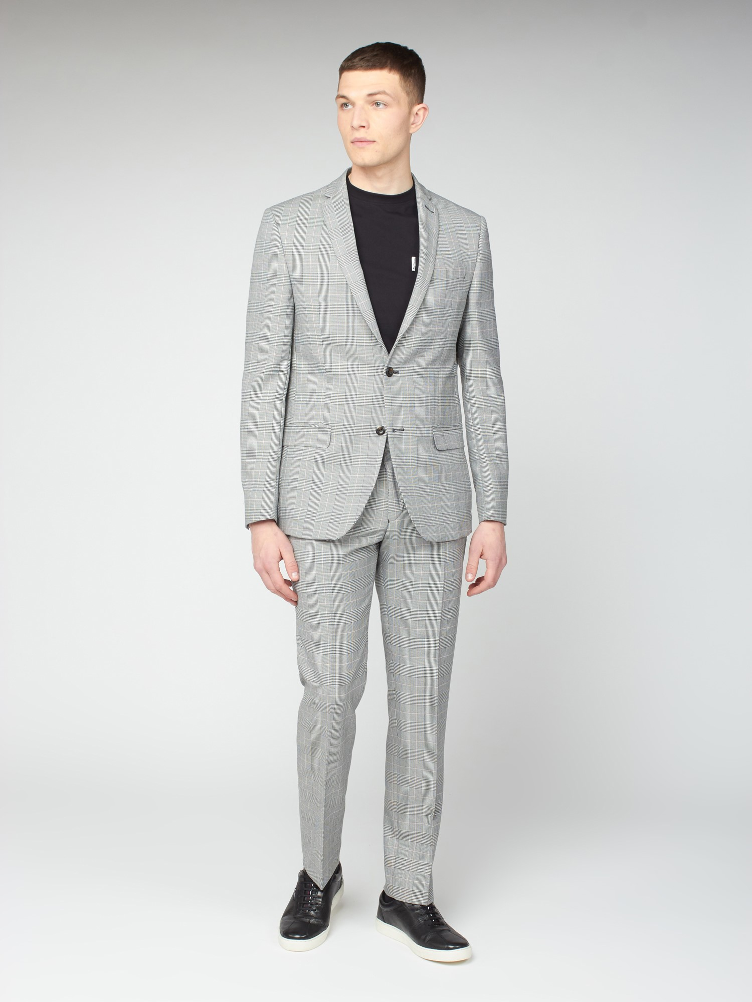 Grey Pink Prince of Wales Check Slim Fit Suit