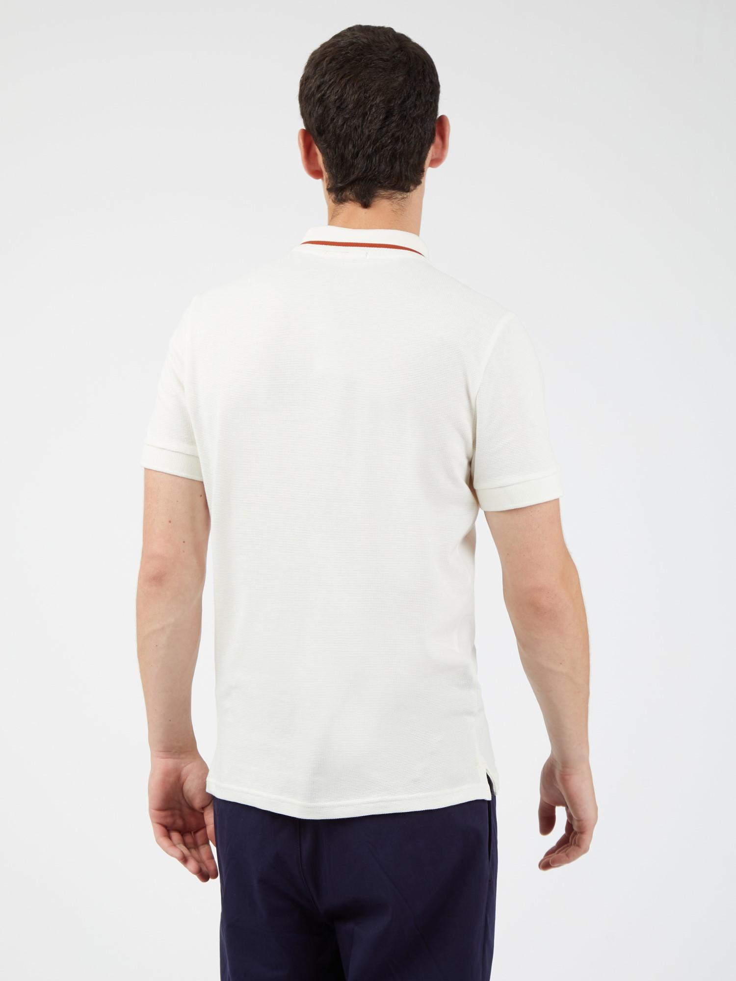 White Textured Pique Polo Shirt