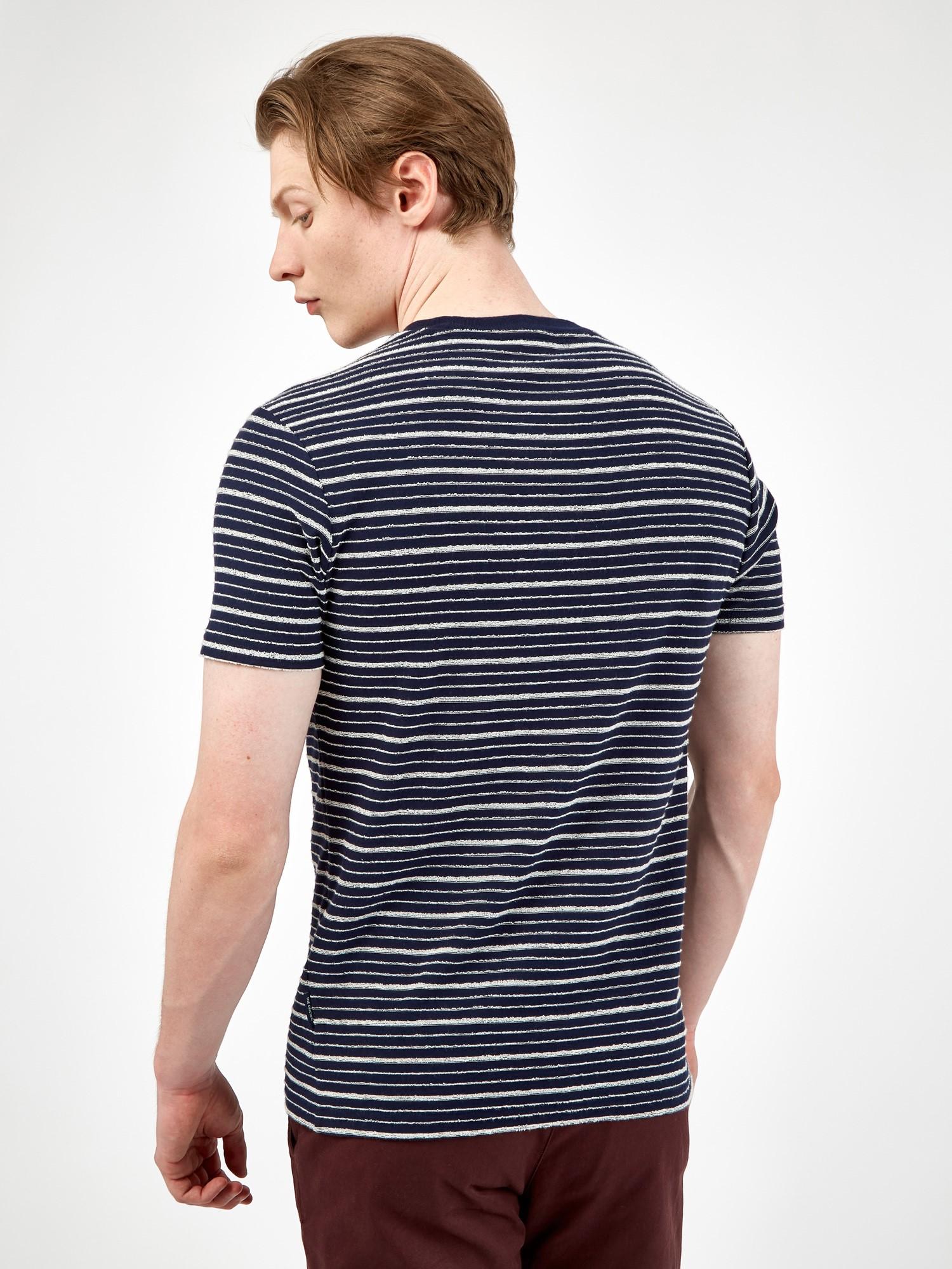 Marine Blue Textured Stripe T-Shirt