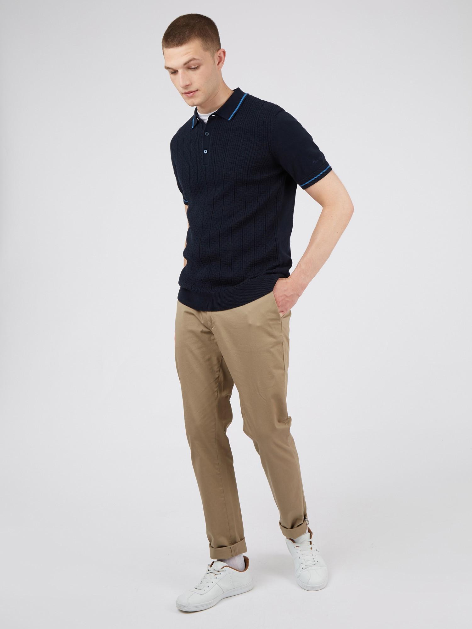 Dark Navy Short Sleeve Textured Front Polo Shirt