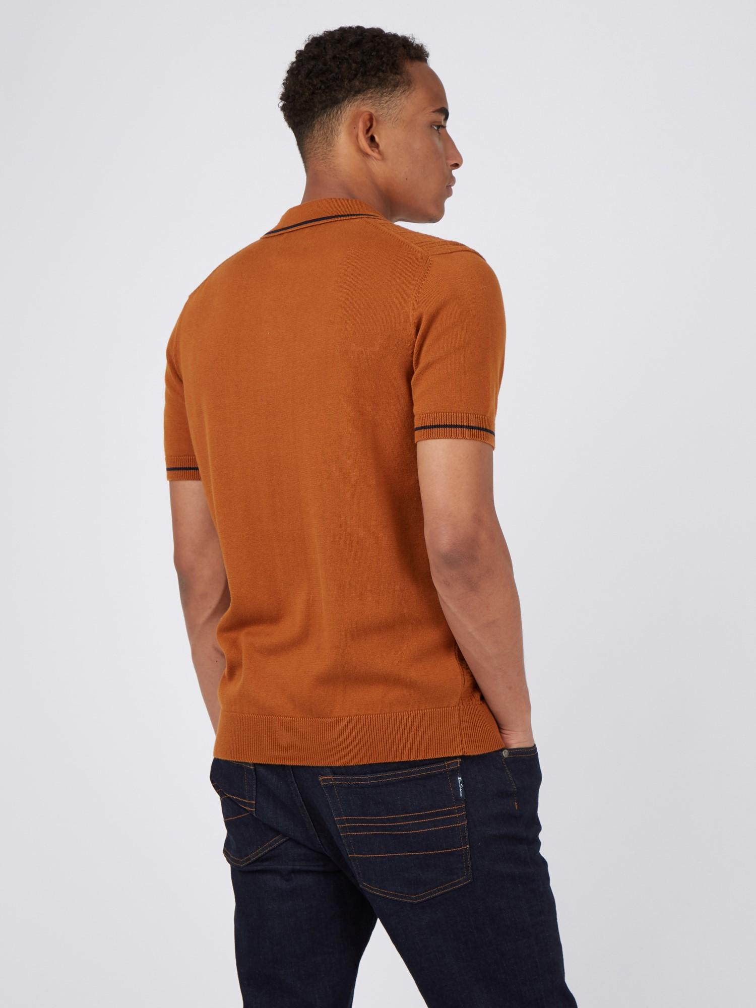 Caramel Short Sleeve Textured Front Polo Shirt