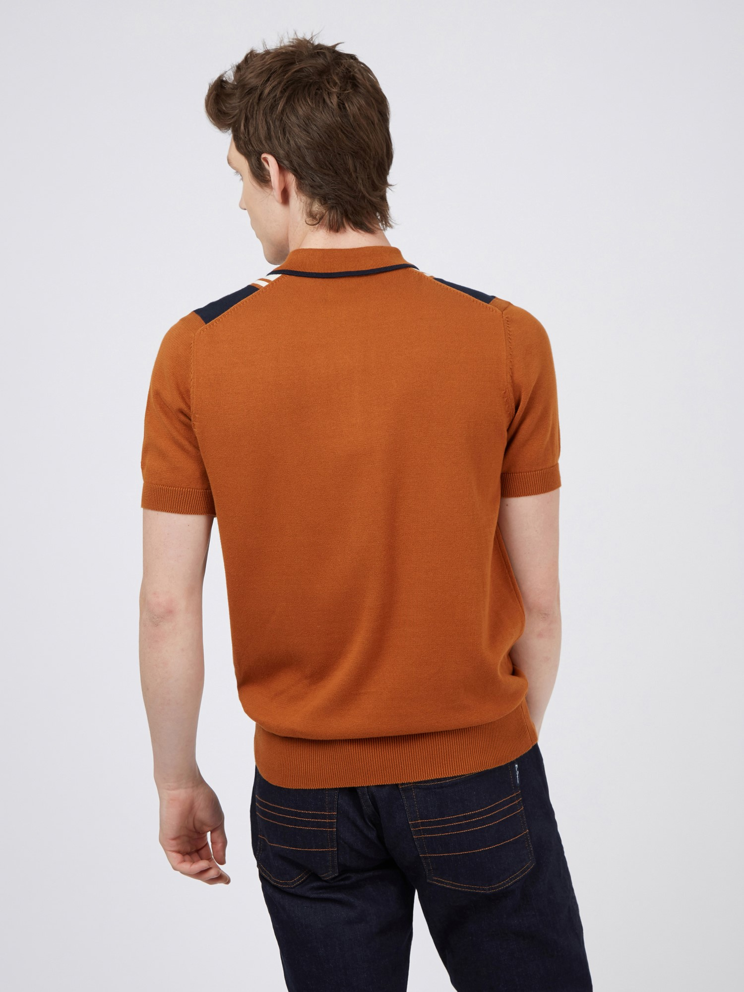 Caramel Mod Stripe Knitted Polo Shirt