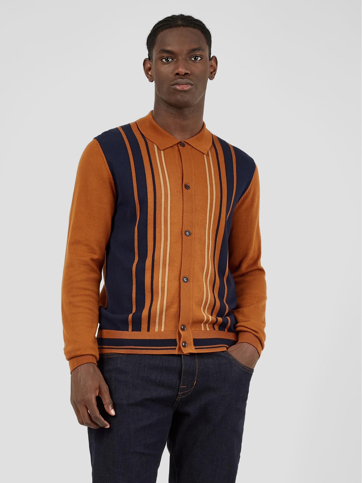 Caramel Long Sleeve Button Through Polo Shirt