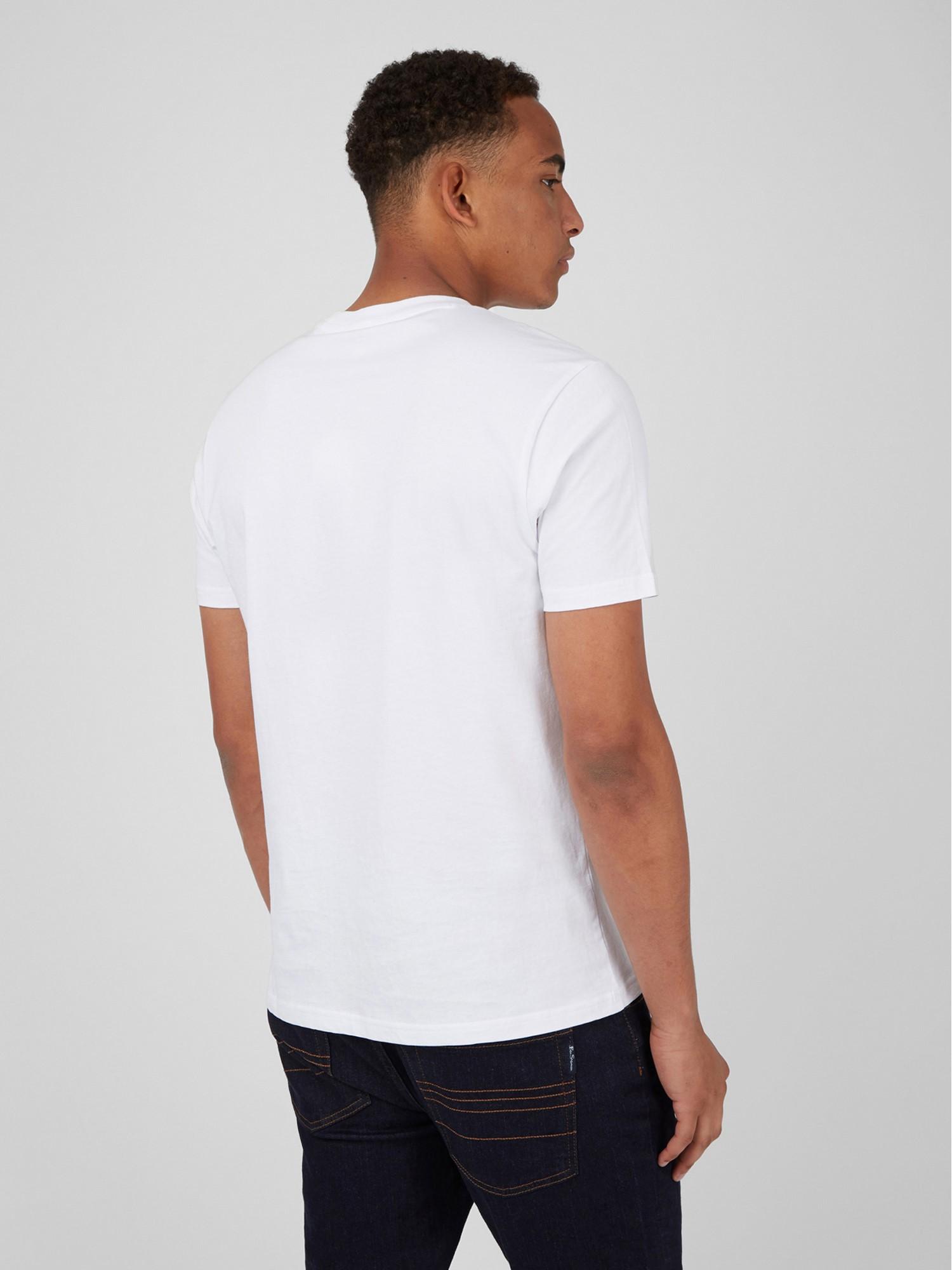 White Organic Cotton Chest Stripe Logo T-Shirt