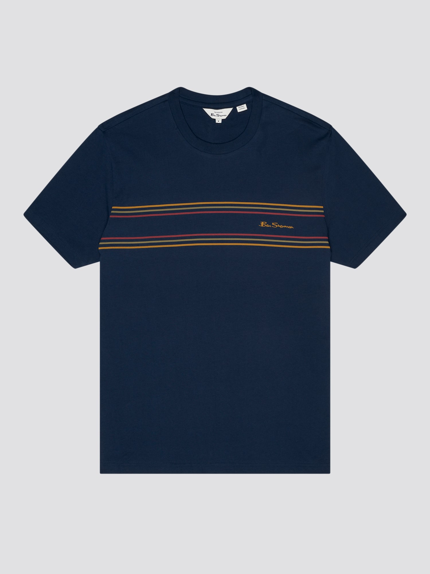 Marine Blue Organic Cotton Chest Stripe Logo T-Shirt