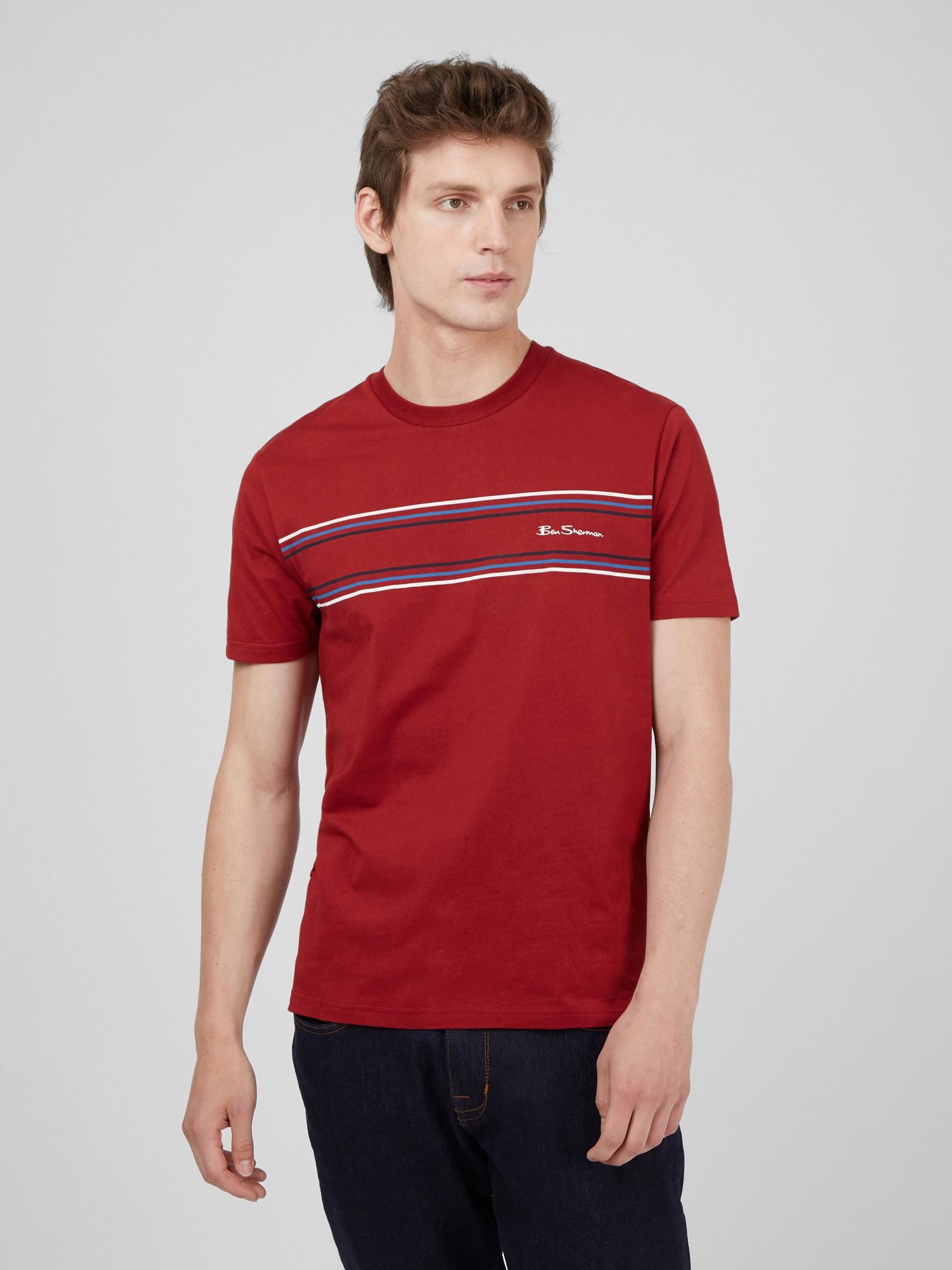 Red Organic Cotton Chest Stripe Logo T-Shirt