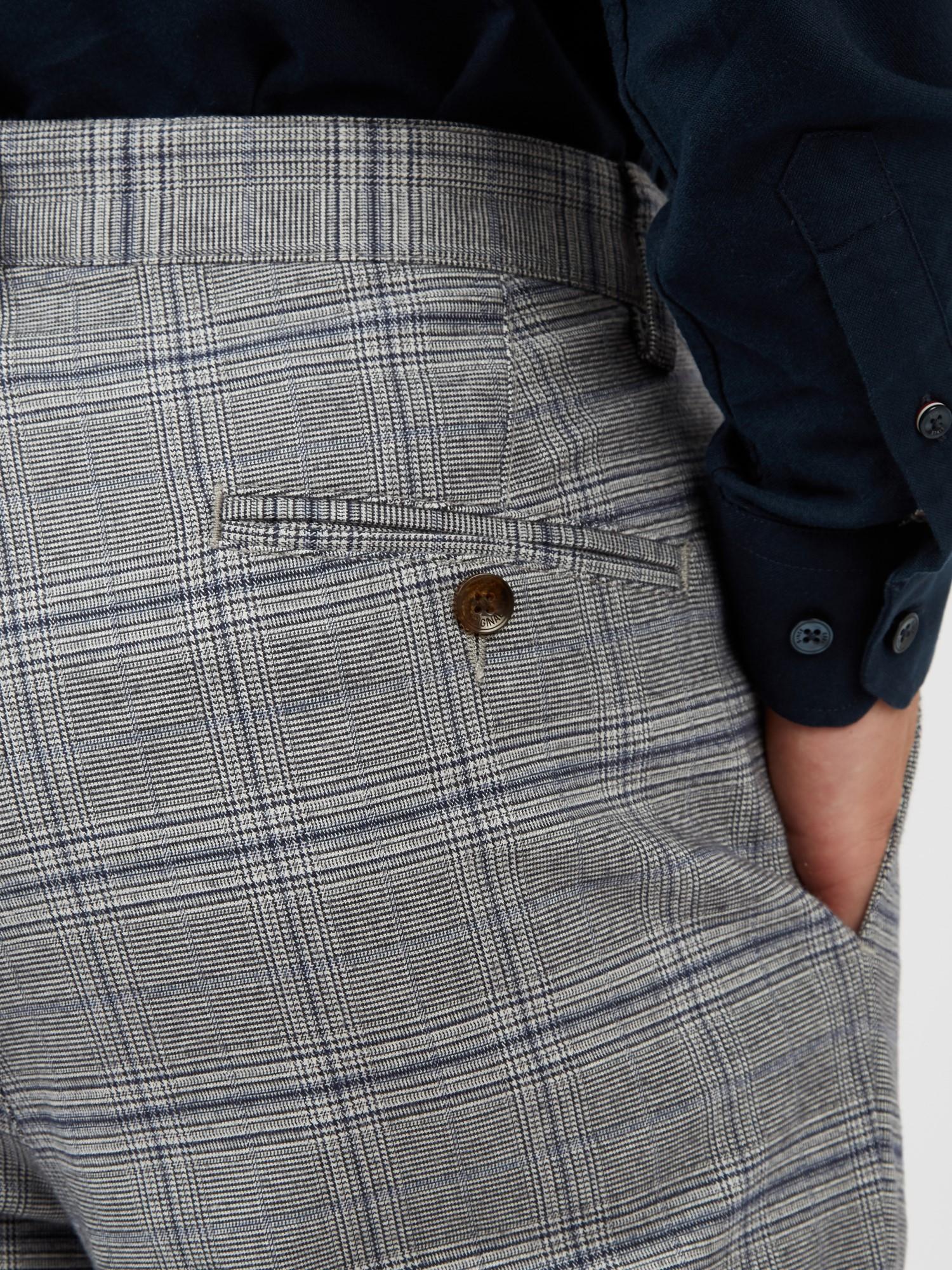 Grey Heritage Check Slim Taper Trouser