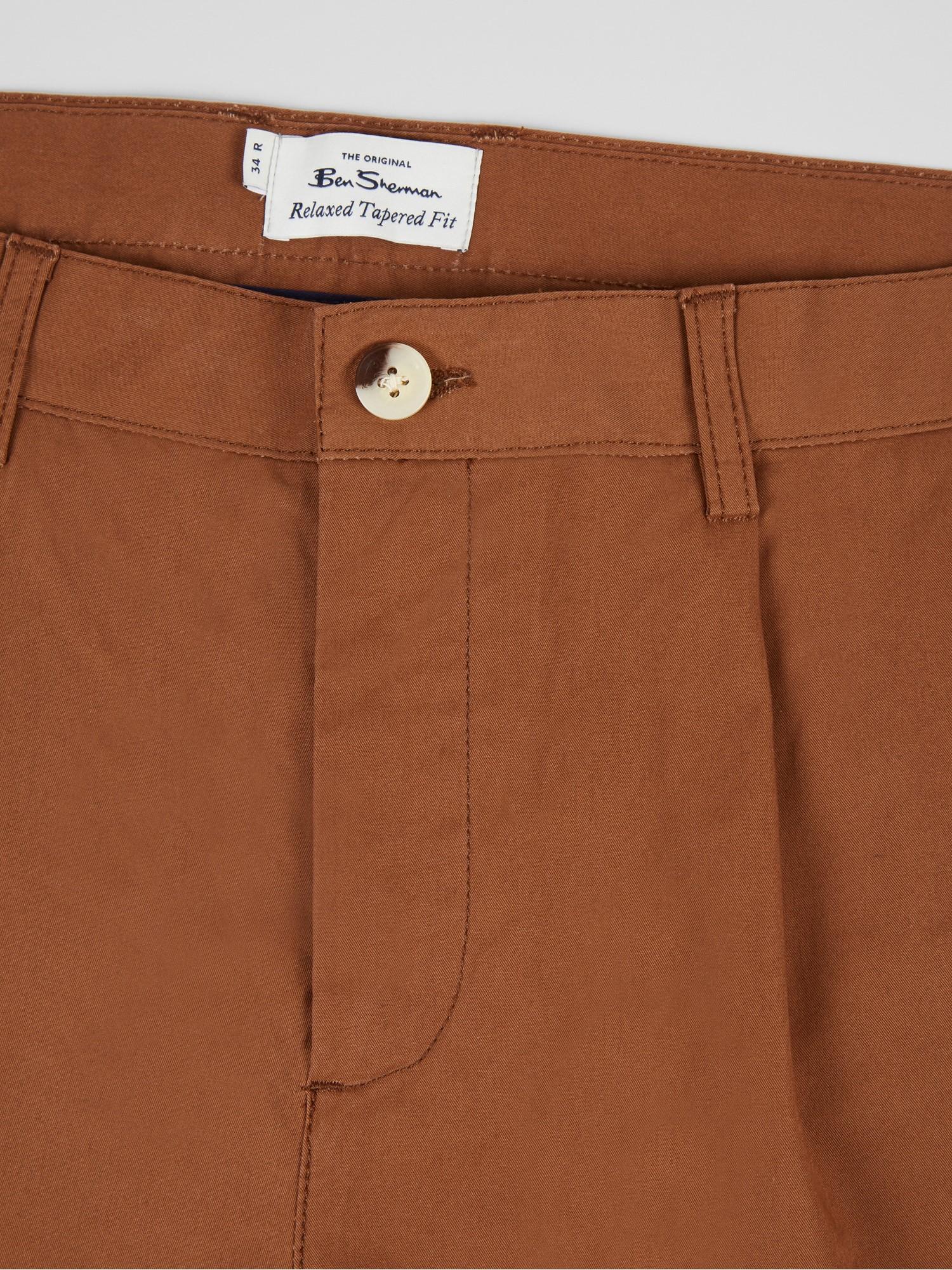 Tan Twill Relaxed Taper Pleat Trouser