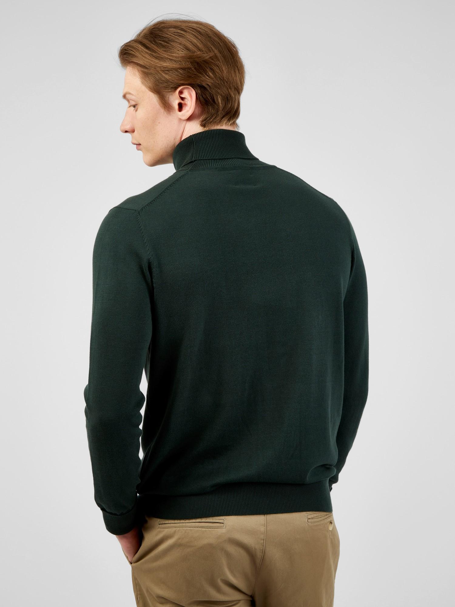 Dark Green Cotton Signature Knitted Roll Neck Jumper