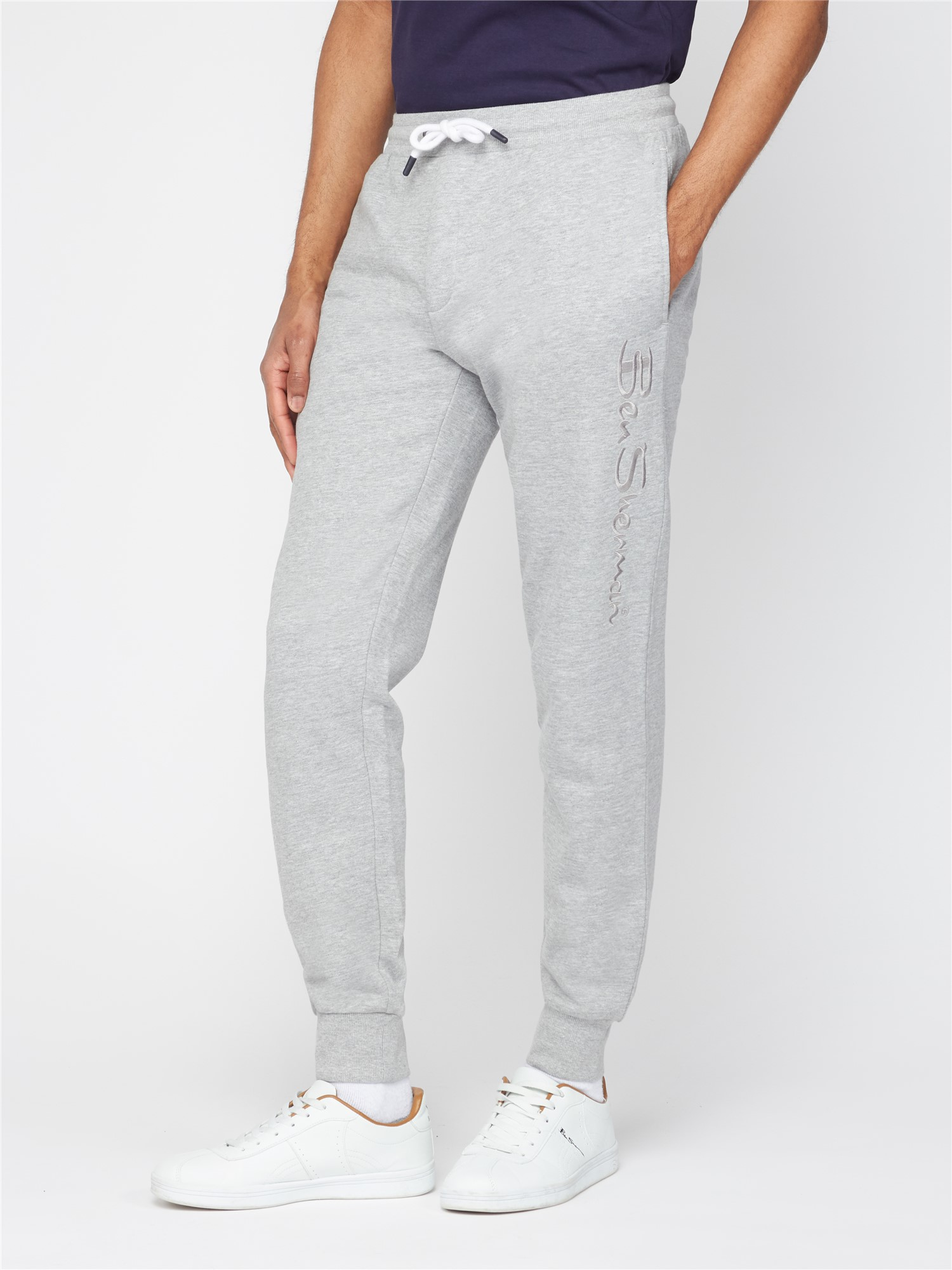 Embroidered Grey Marl Script Joggers