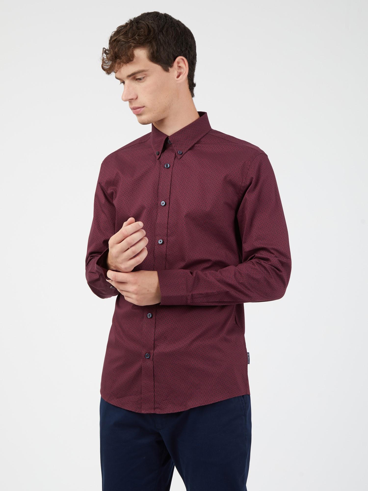 Long Sleeved Mono Geo Print Shirt