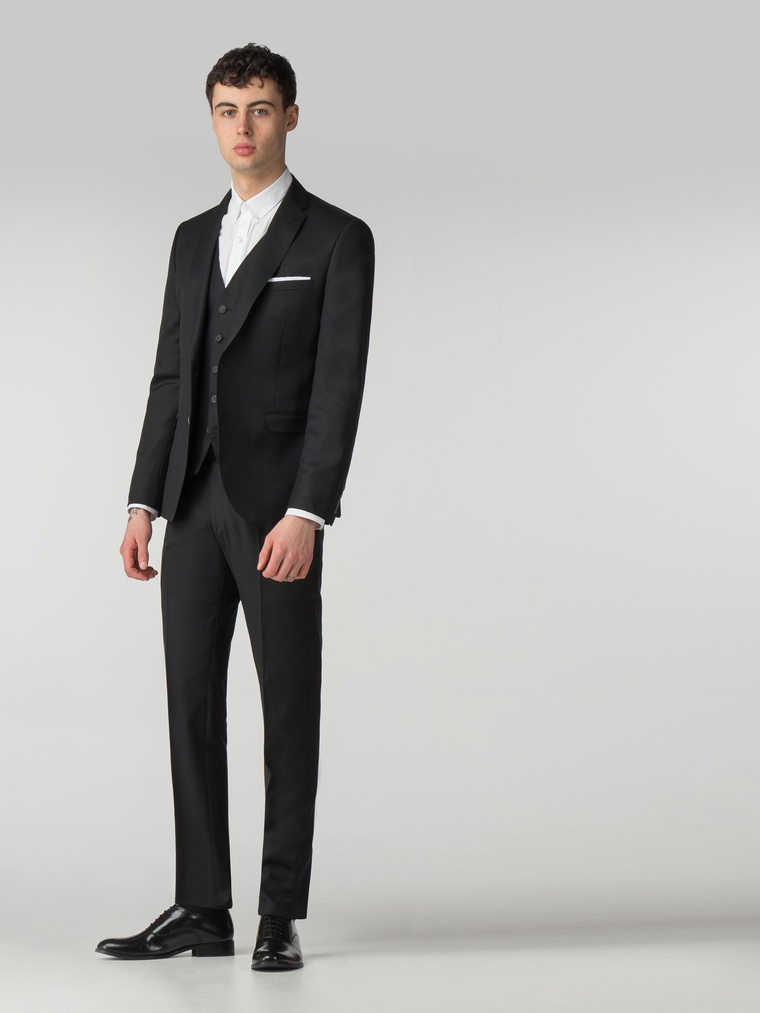 61be5184e246a2 Men's Jet Black Twill 3 Piece Suit | Ben Sherman | Est 1963