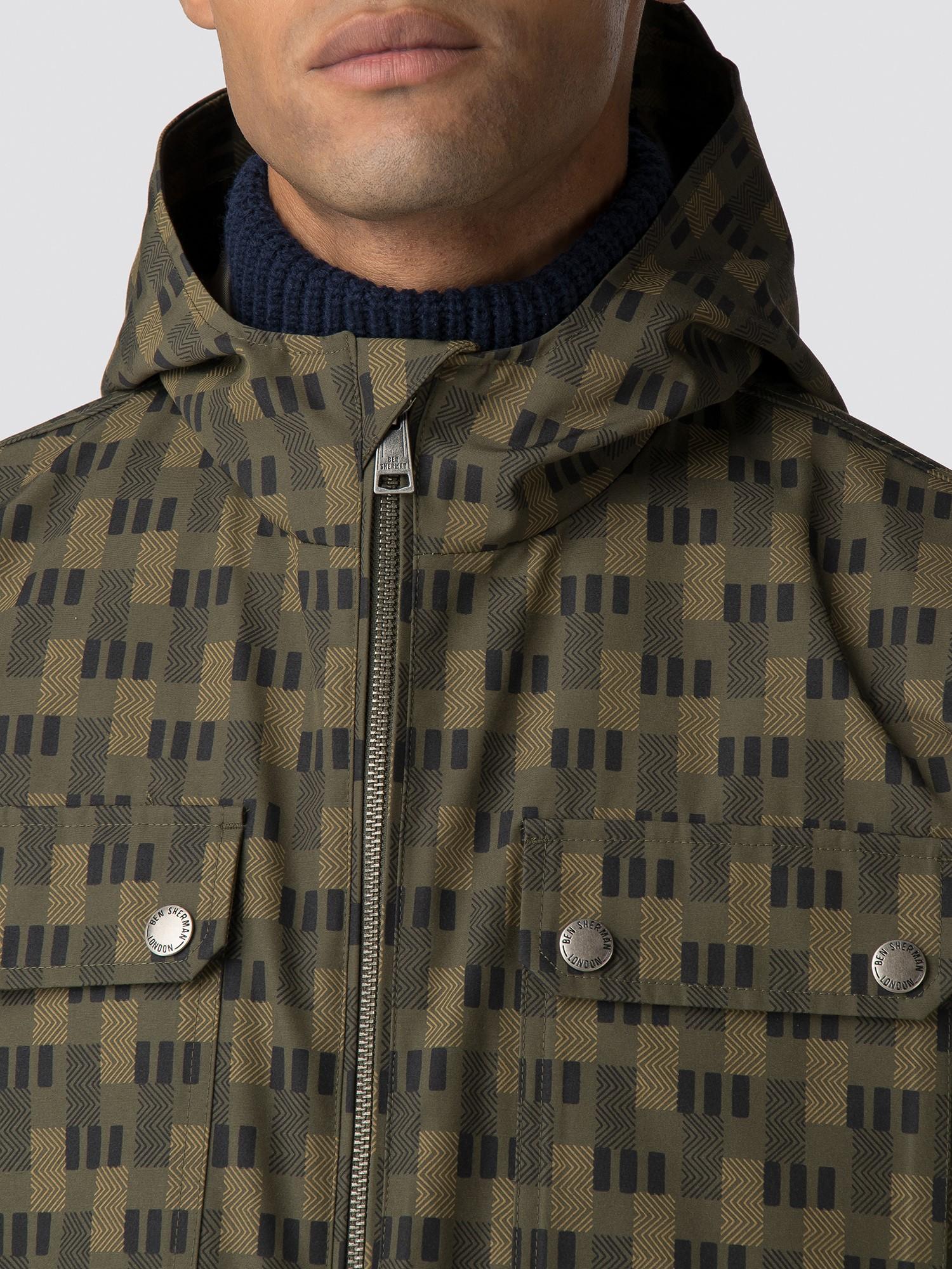 Ben Sherman Mens Printed Anorak Coat