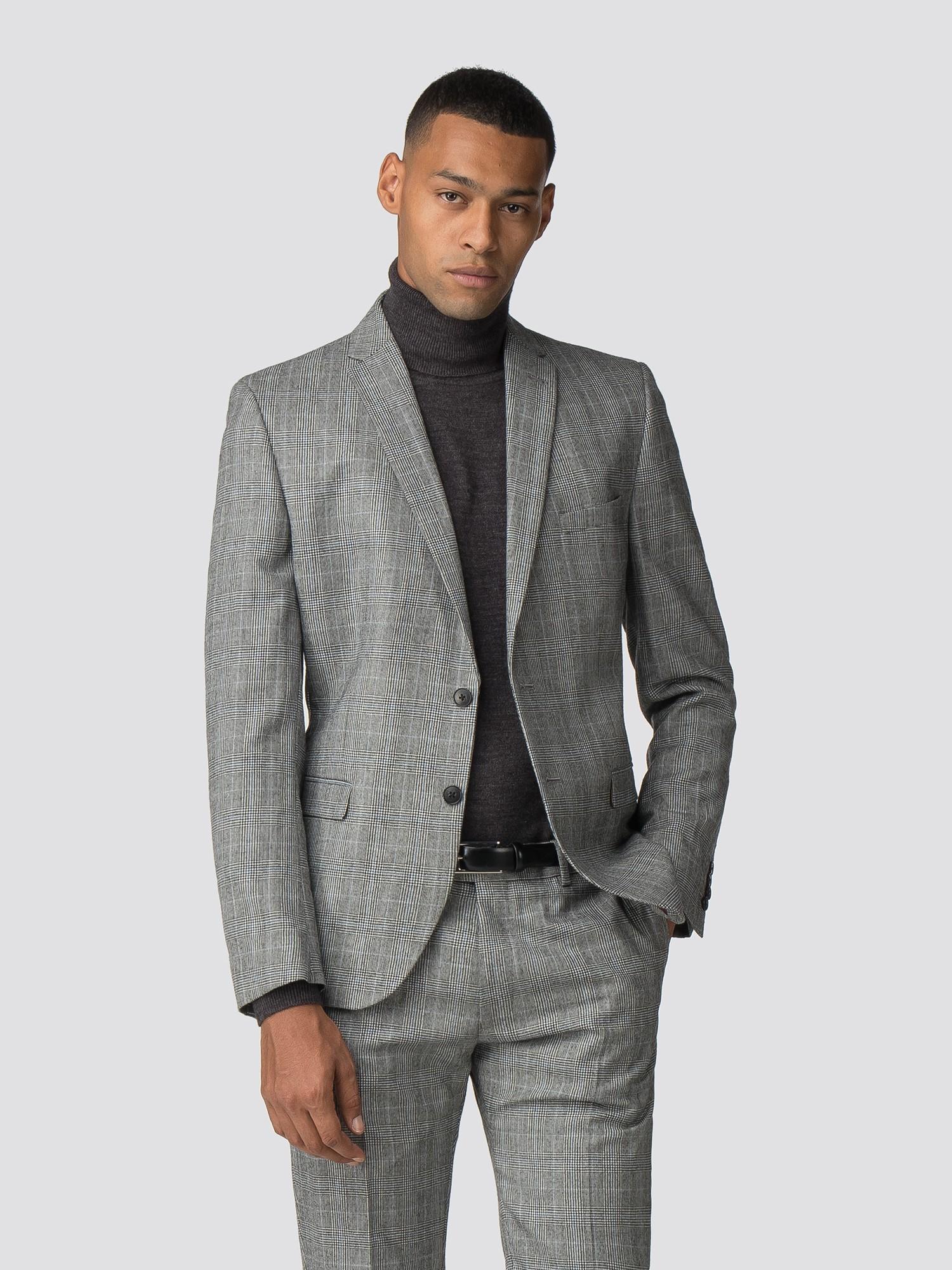 4bc857a9cc6583 Men's Grey Check Prince of Wales Suit | Ben Sherman | Est 1963