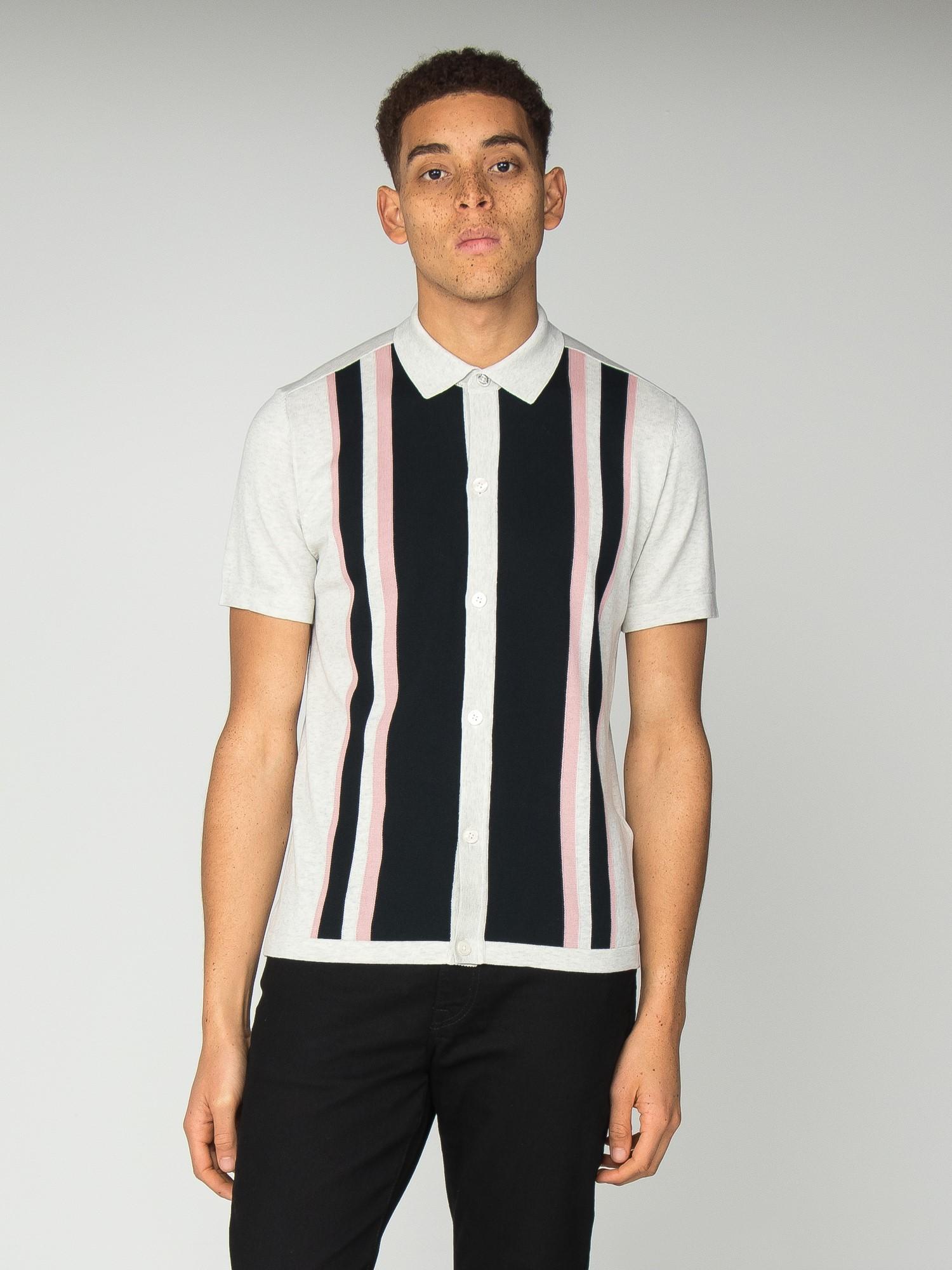 Mens Ben Sherman Knitted /'Mod Button Thru/' Polo Shirt Long Sleeved