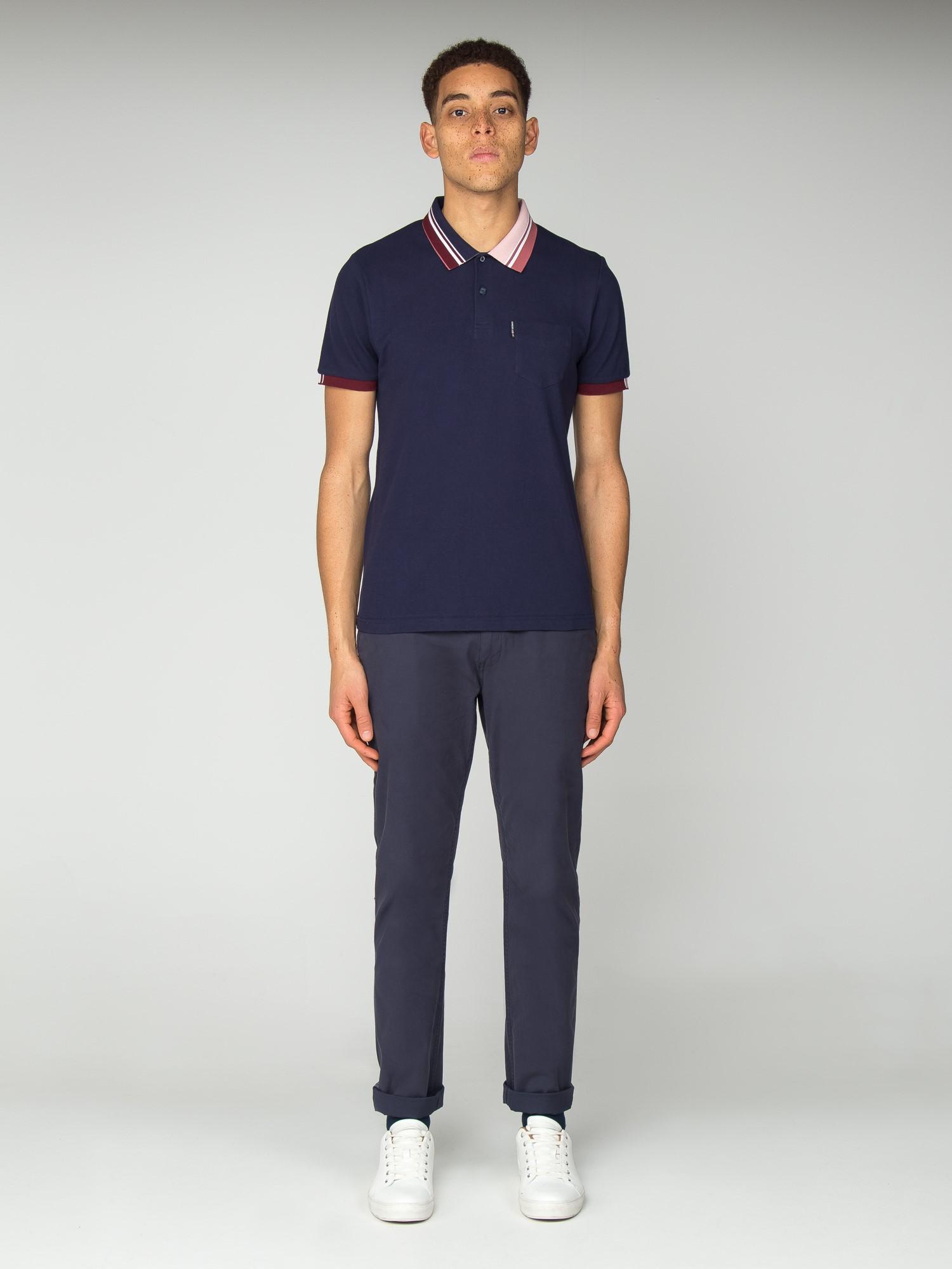4263553191e2eb Men's Navy Striped Collar Polo Shirt | Ben Sherman | Est 1963