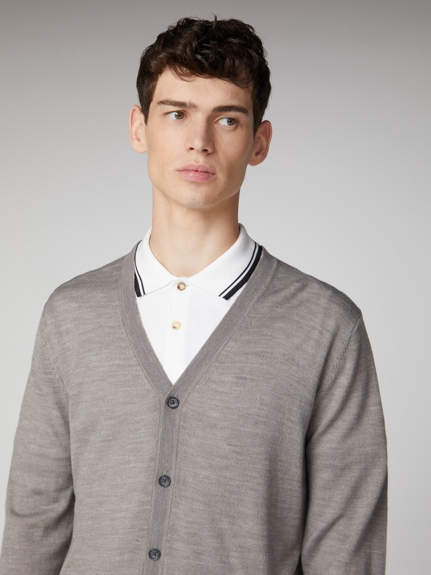 Men's Grey Merino Button Cardigan   Ben Sherman   Est 1963