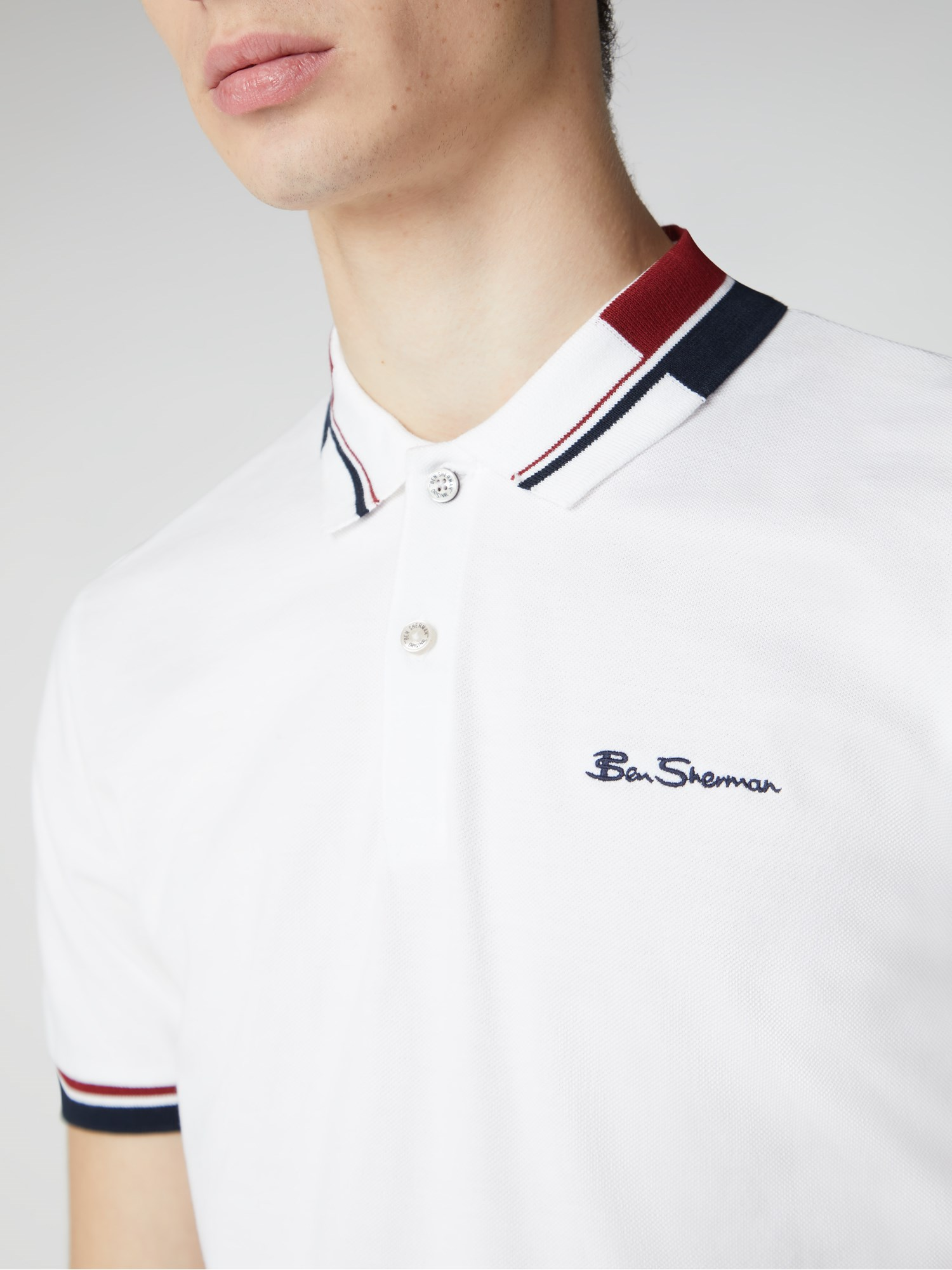 Ben Sherman Polo Shirt Men/'s Regular Fit Navy-170 Jacquard Collar 0062868T