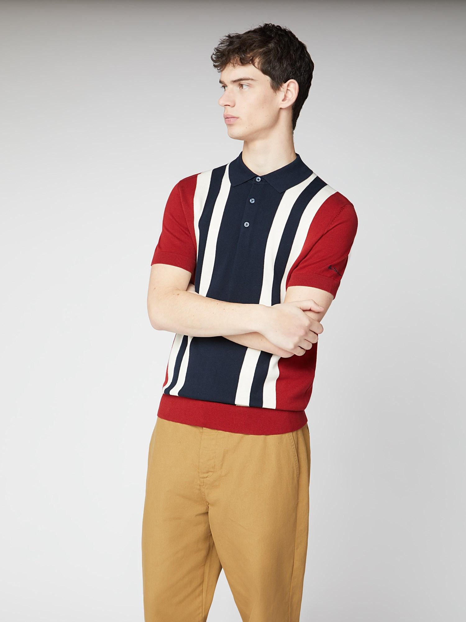 Ben Sherman Colour Block Knit Polo Hombre