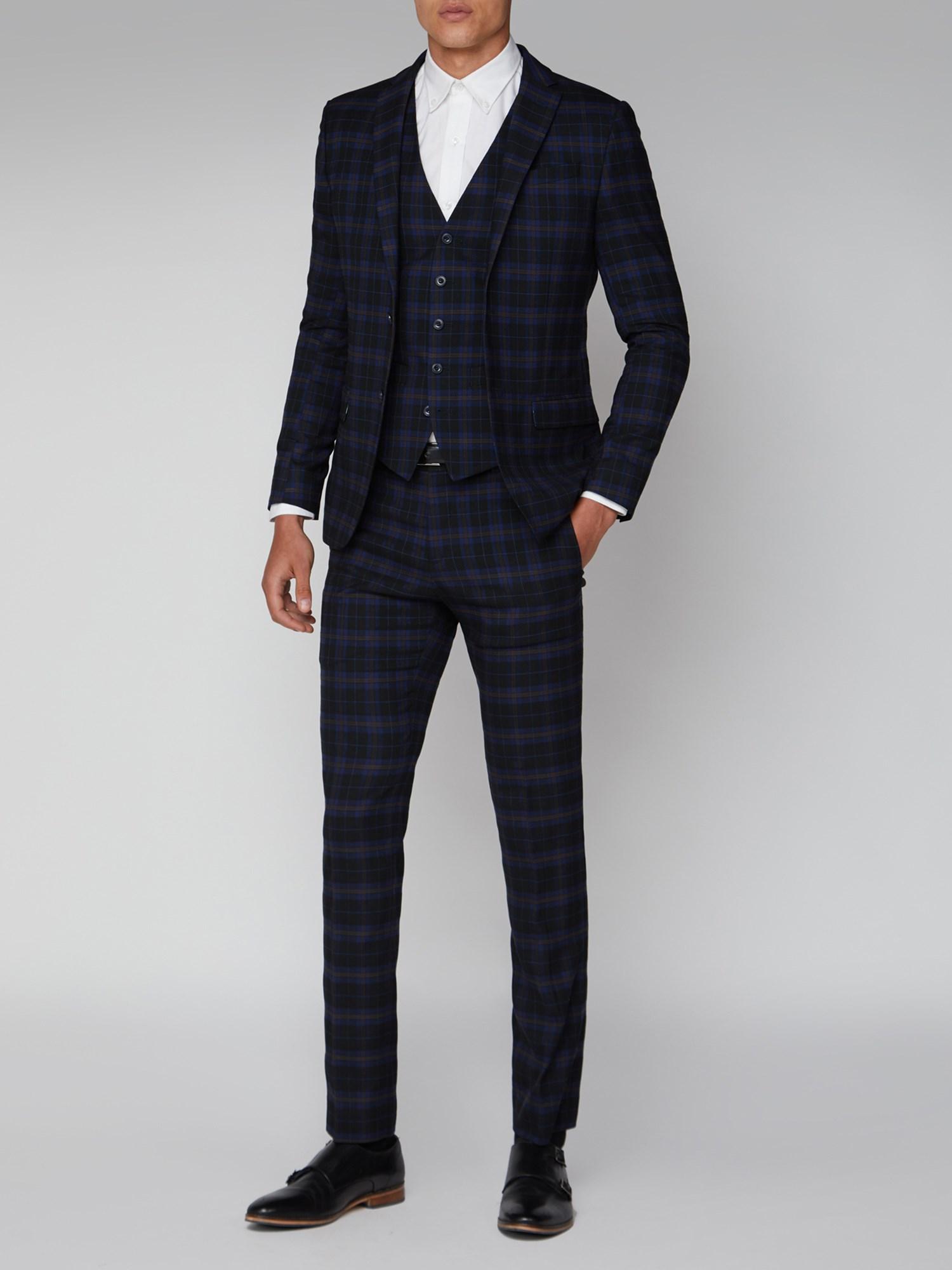Men S Blue Mustard Check 2 Piece Suit Ben Sherman Est 1963