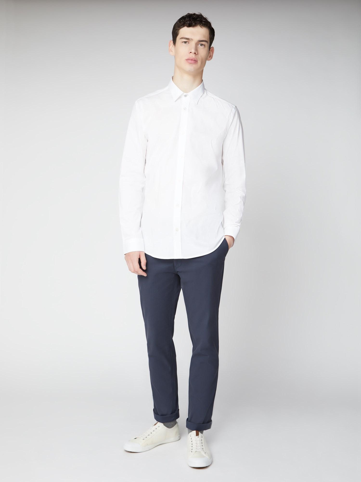White Stretch Poplin Formal Shirt   Ben Sherman   Est 20