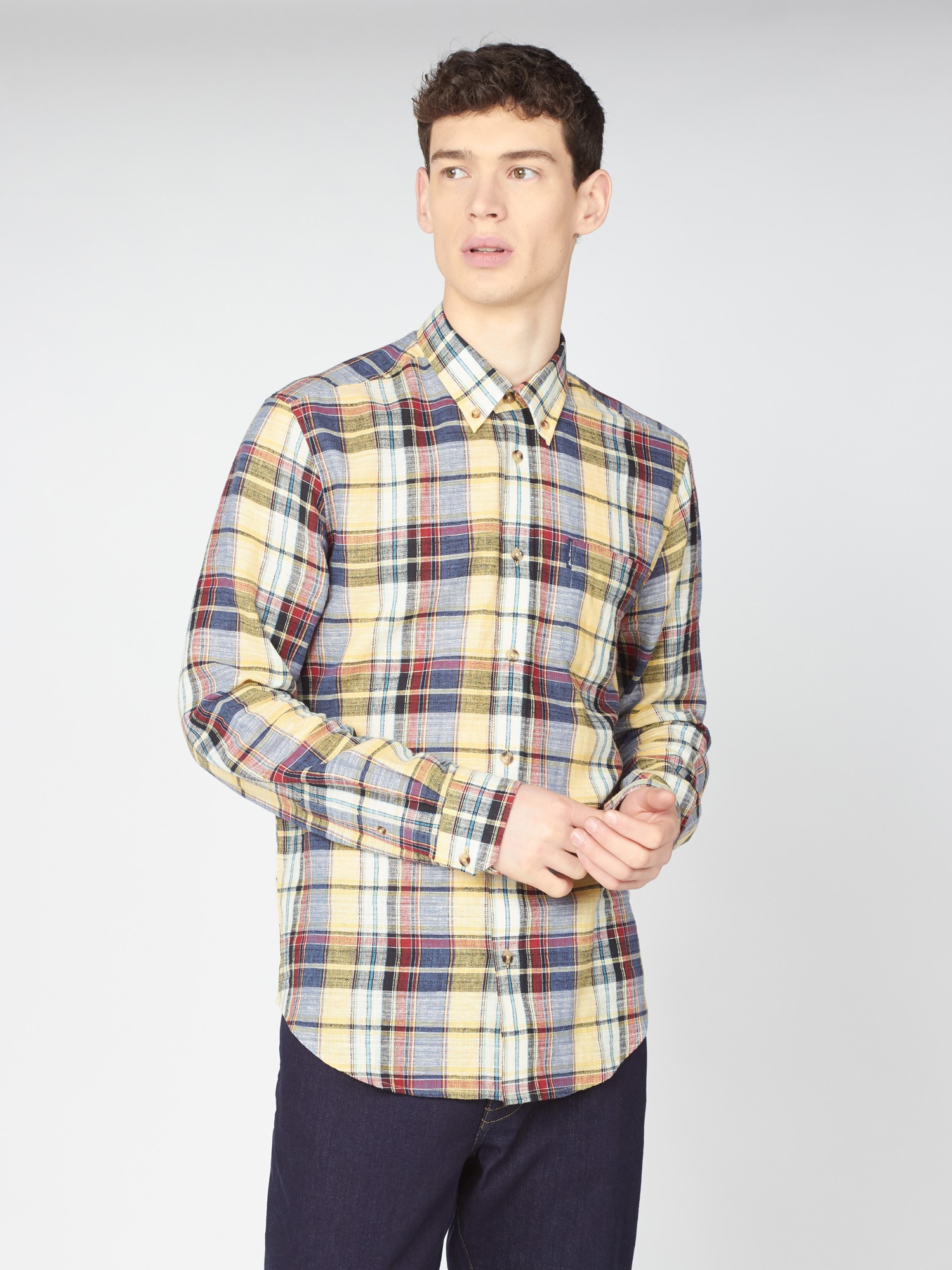Men's Slub Madras Yellow Check Shirt   Ben Sherman