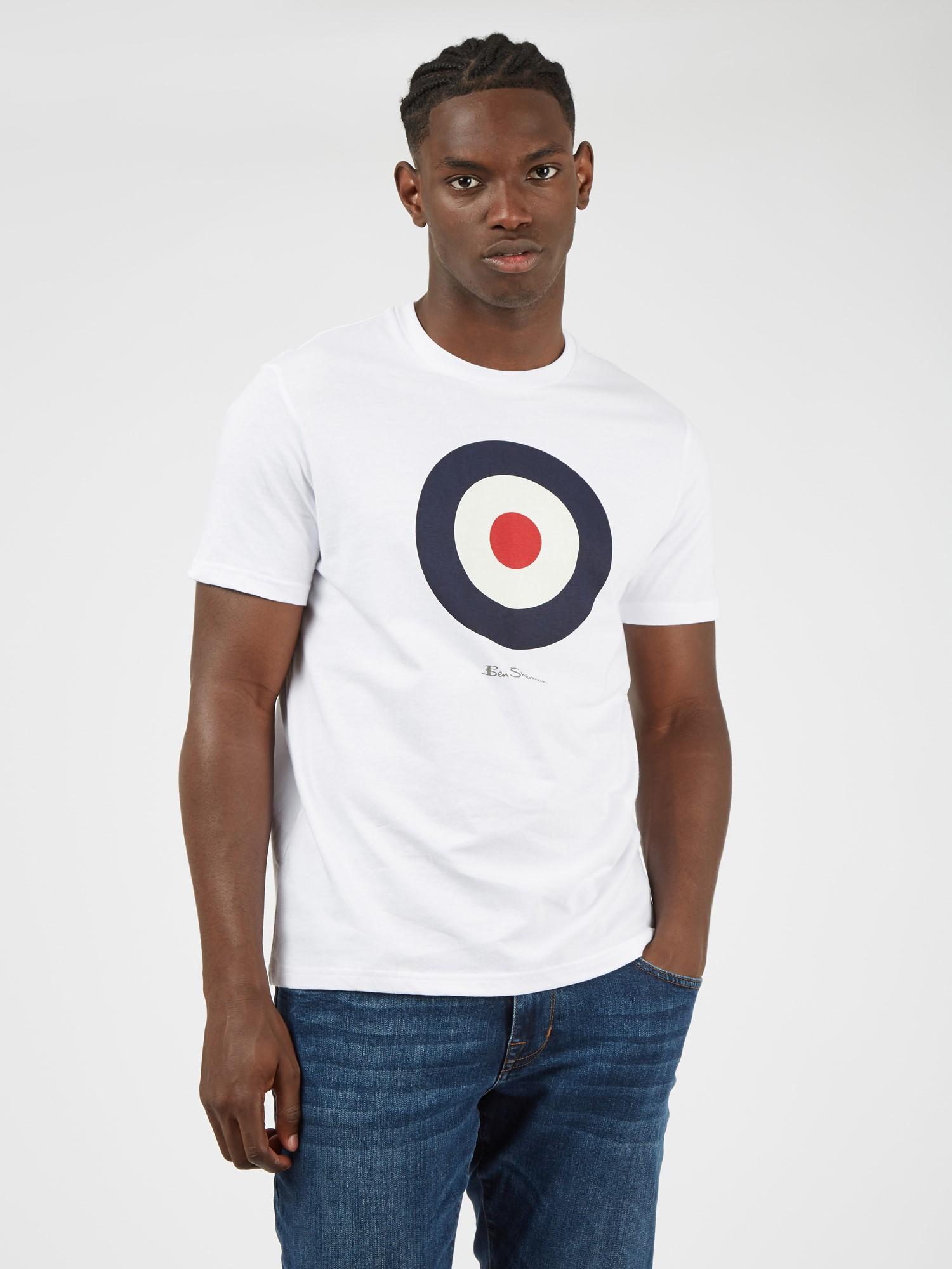 Men's White Mod Target Tee   Organic T Shirt   Ben Sherman UK