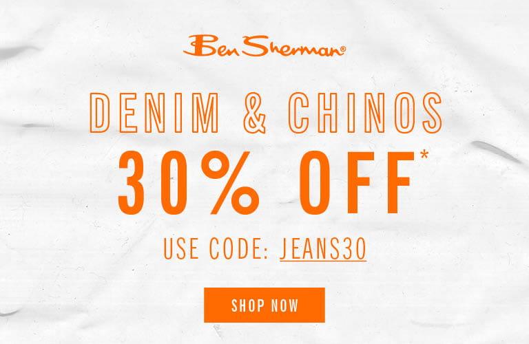 30% Off Denim & Chinos