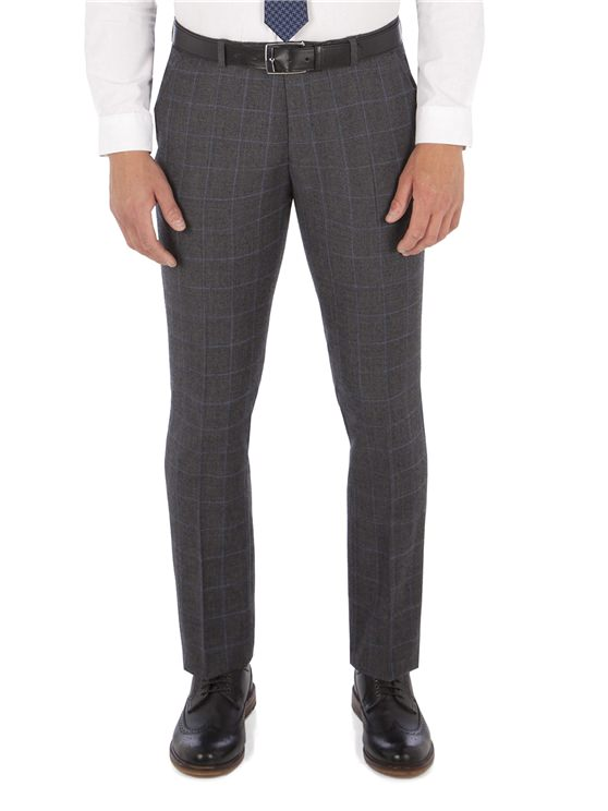 Grey with Blue Overcheck Camden Trouser