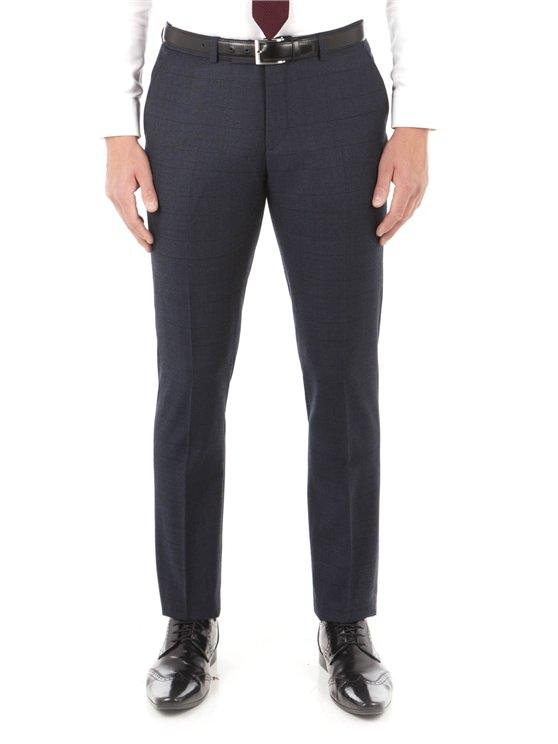 Navy Flannel Check Camden Trouser