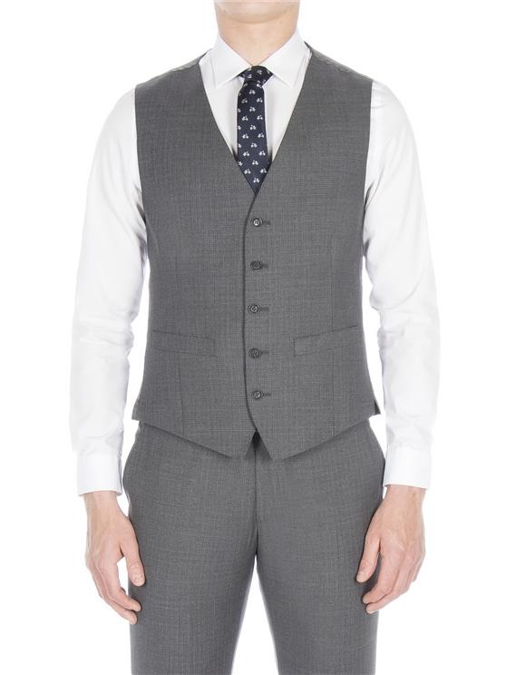 Smoked grey broken check waistcoat