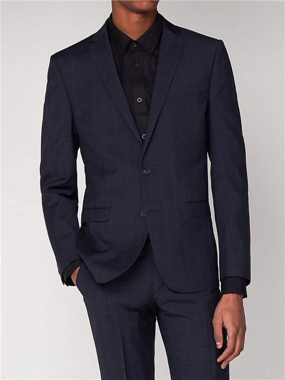 Midnight Navy Check Suit Jacket