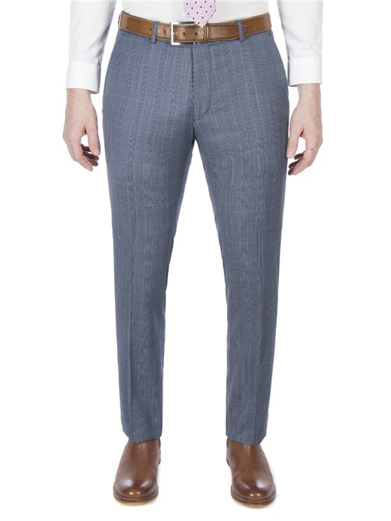 Airforce blue summer check trouser